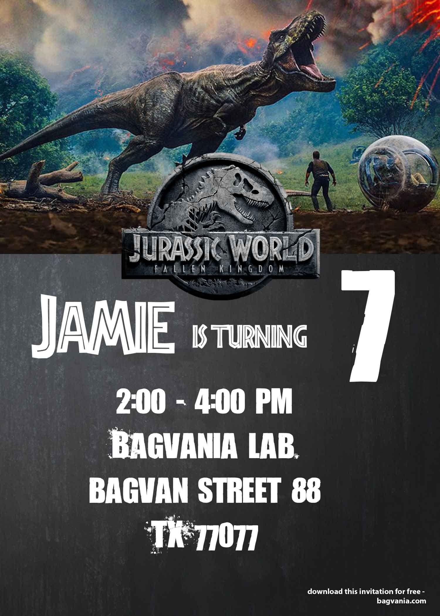 Jurassic World : Fallen Kingdom Birthday Party Ideas - Free - Free Printable Jurassic Park Invitations