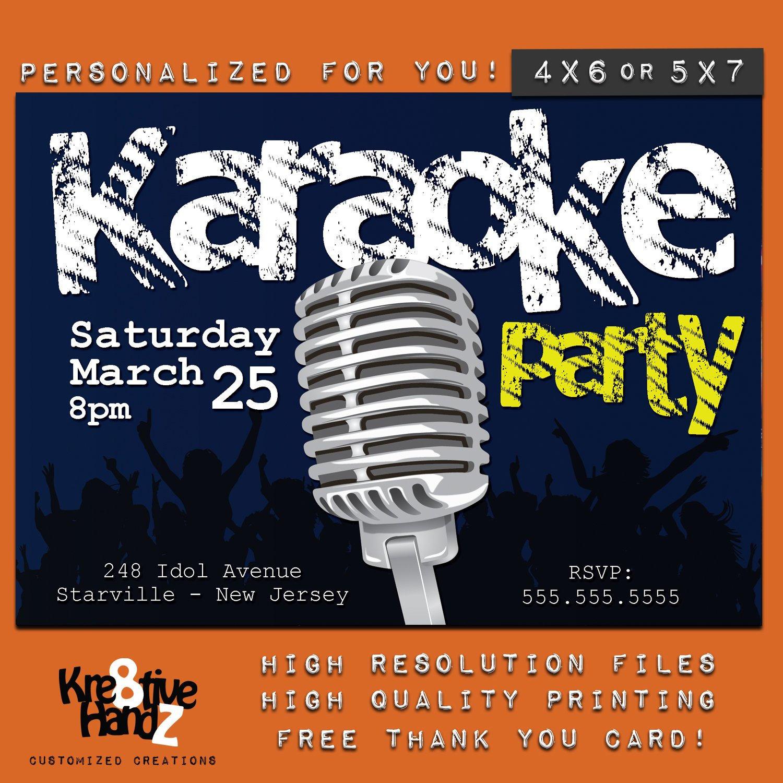 Karaoke Party Invitation Personalized Printable Karaoke Theme | Etsy - Free Printable Karaoke Party Invitations