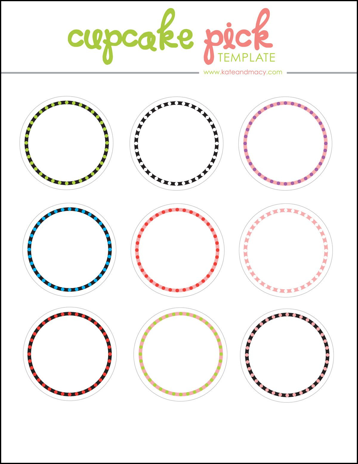 Kate: Free Digital Cupcake Pick Topper Template | Printables - Cupcake Flags Printable Free
