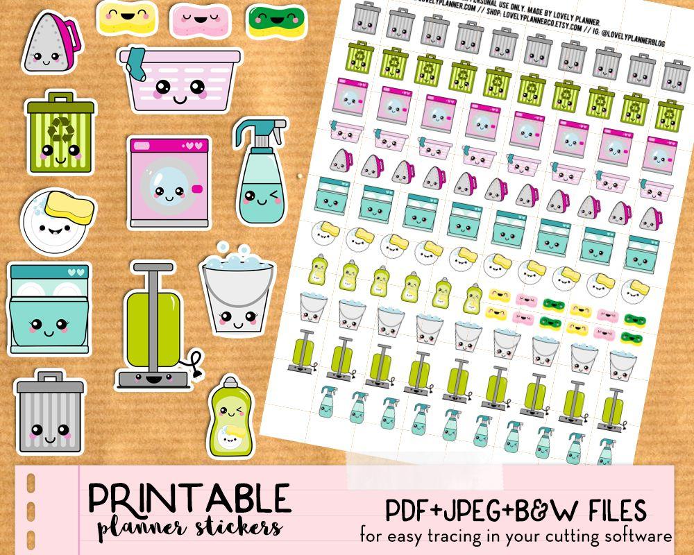 Kawaii Trash Bins Stickers - Free Printable And Cut File | Printable - Free Printable Kawaii Stickers