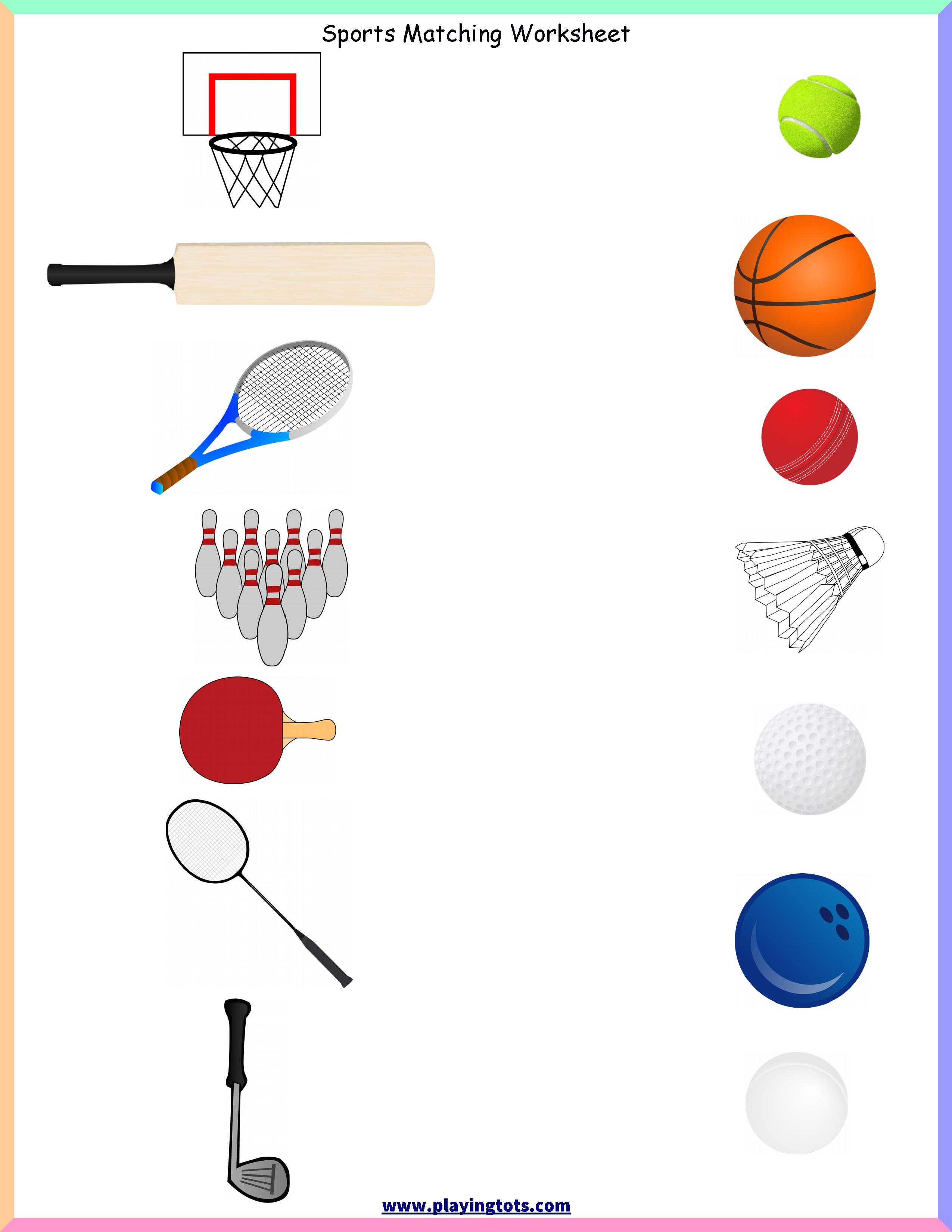 Keywords: Matching,activities,sports,ball,bat,games,toddler,free - Free Printable Toddler Matching Games