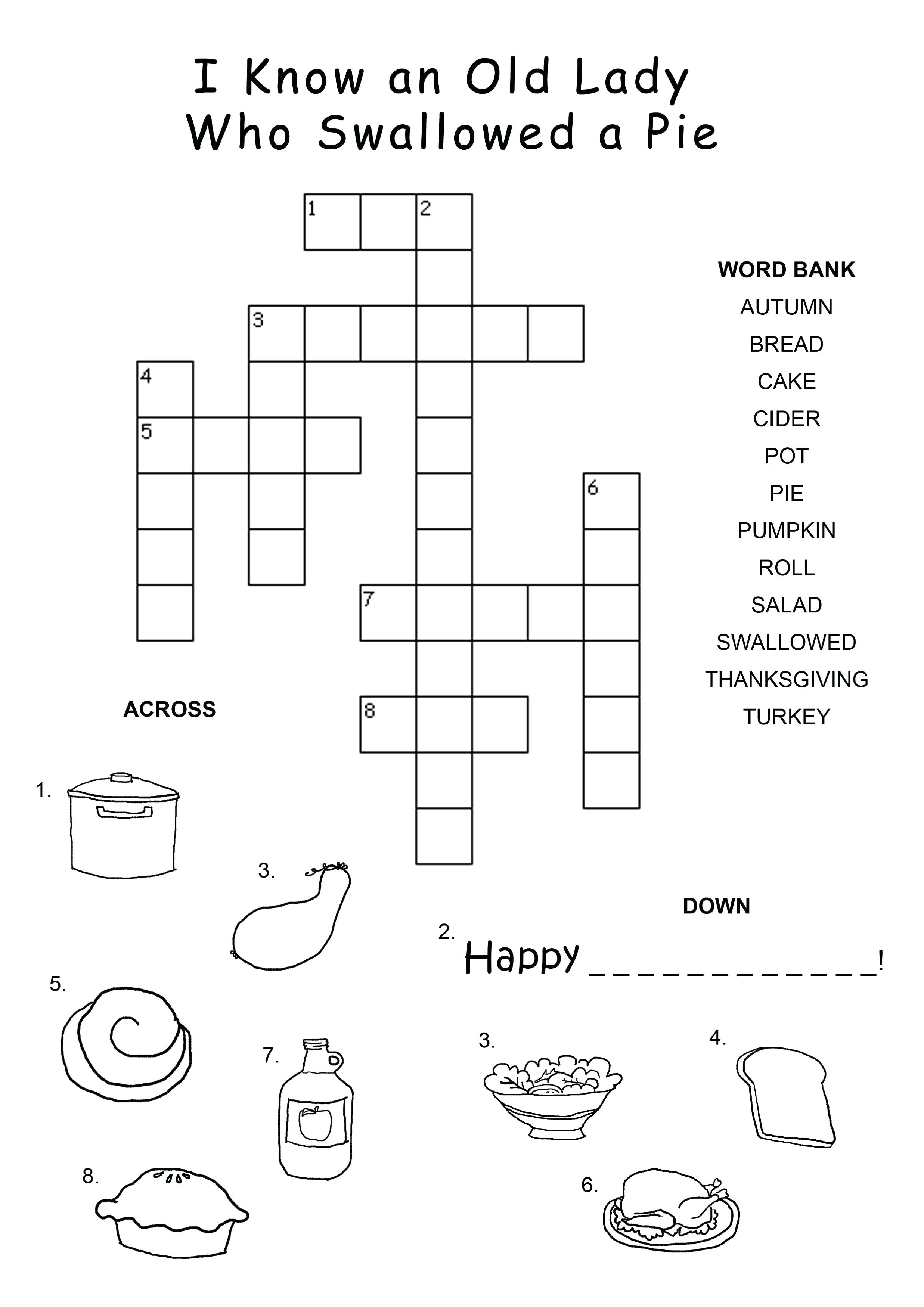 Kids Crossword Easy Puzzles For Happy Clue Puzzle Printable Large - Free Large Printable Word Searches