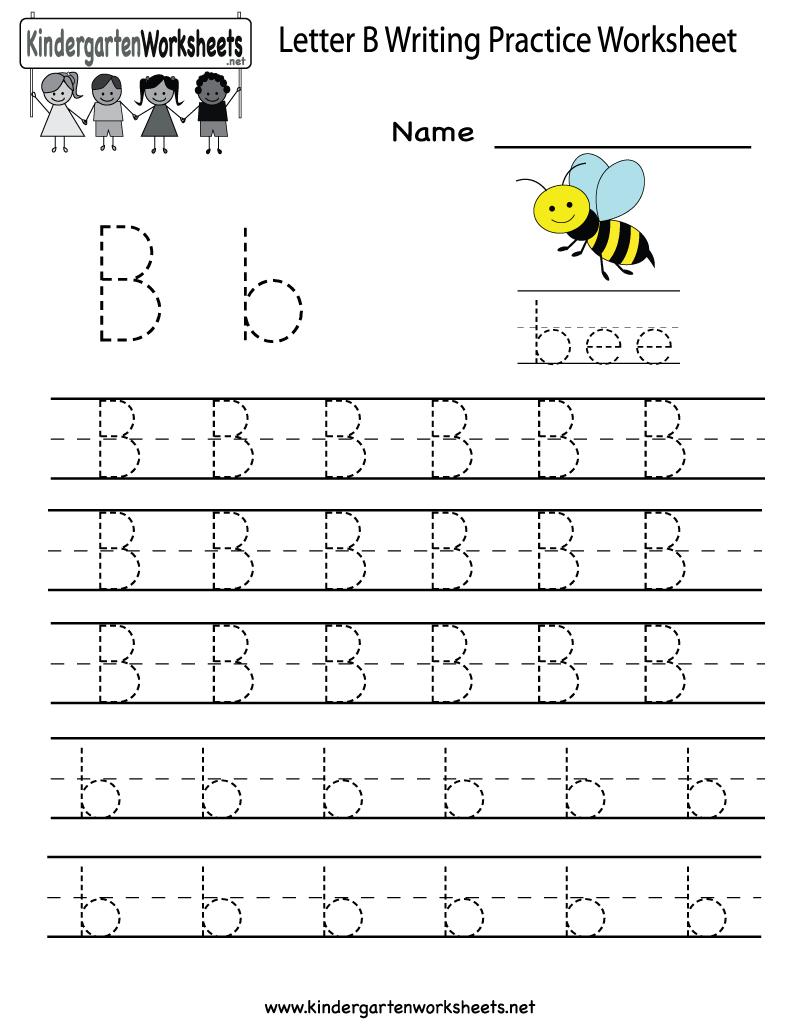 Kindergarten Letter B Writing Practice Worksheet Printable   Things - Free Printable Letter Writing Worksheets