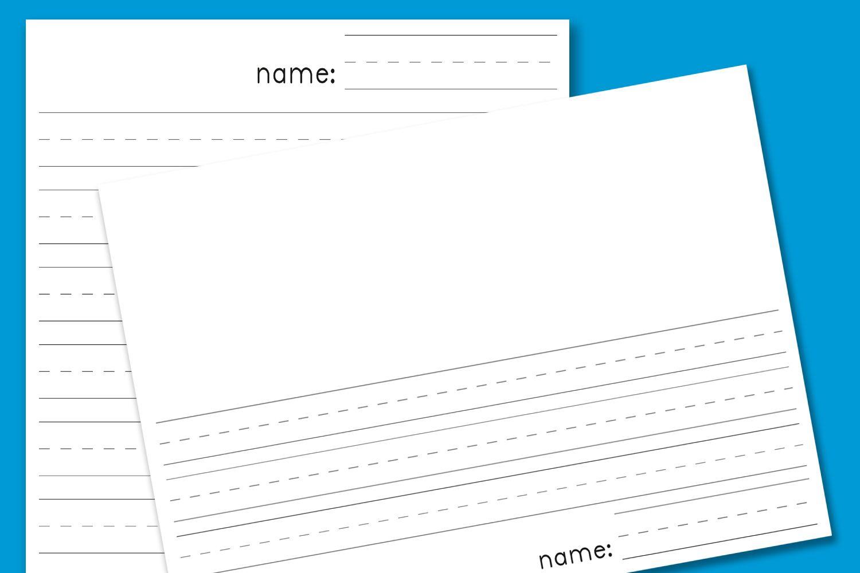 Kindergarten Lined Paper - Download Free Printable Paper Templates - Blank Handwriting Worksheets Printable Free