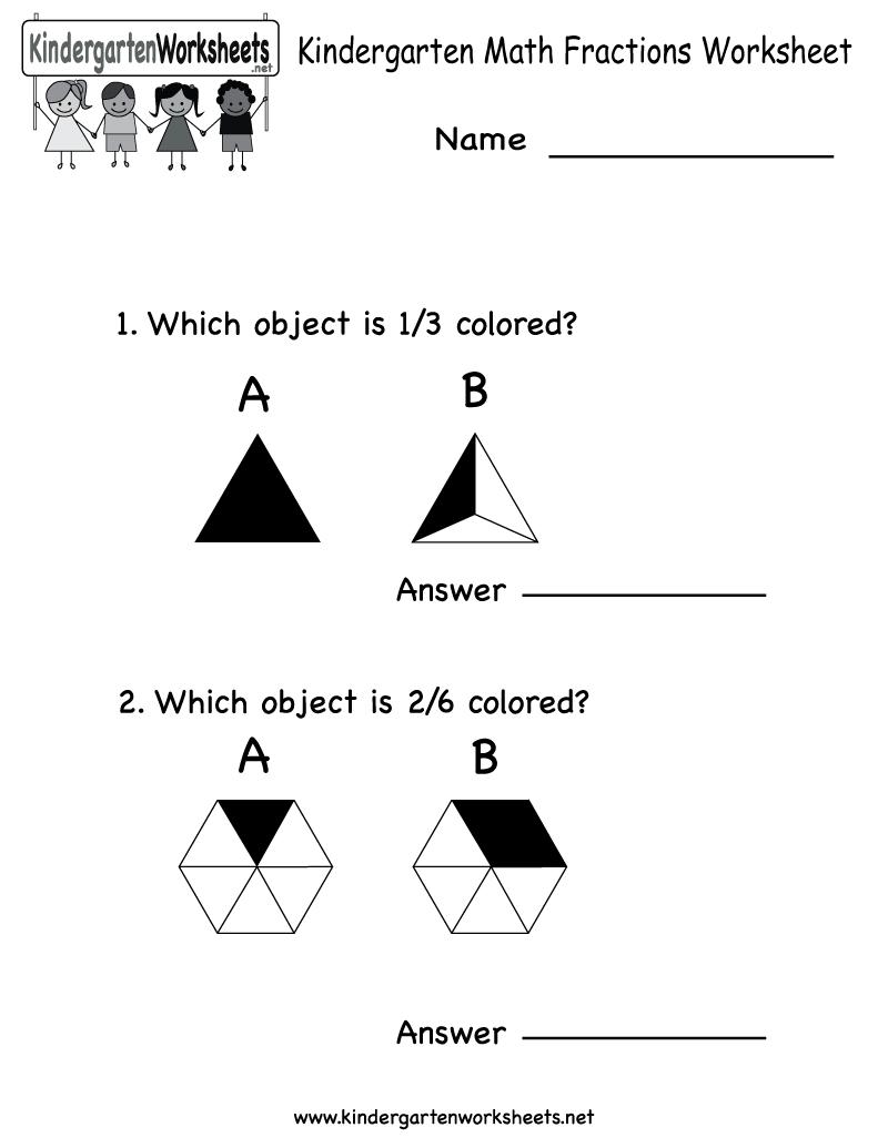 Kindergarten Math Fractions Worksheet - Free Kindergarten Math - Free Printable Kindergarten Math Activities