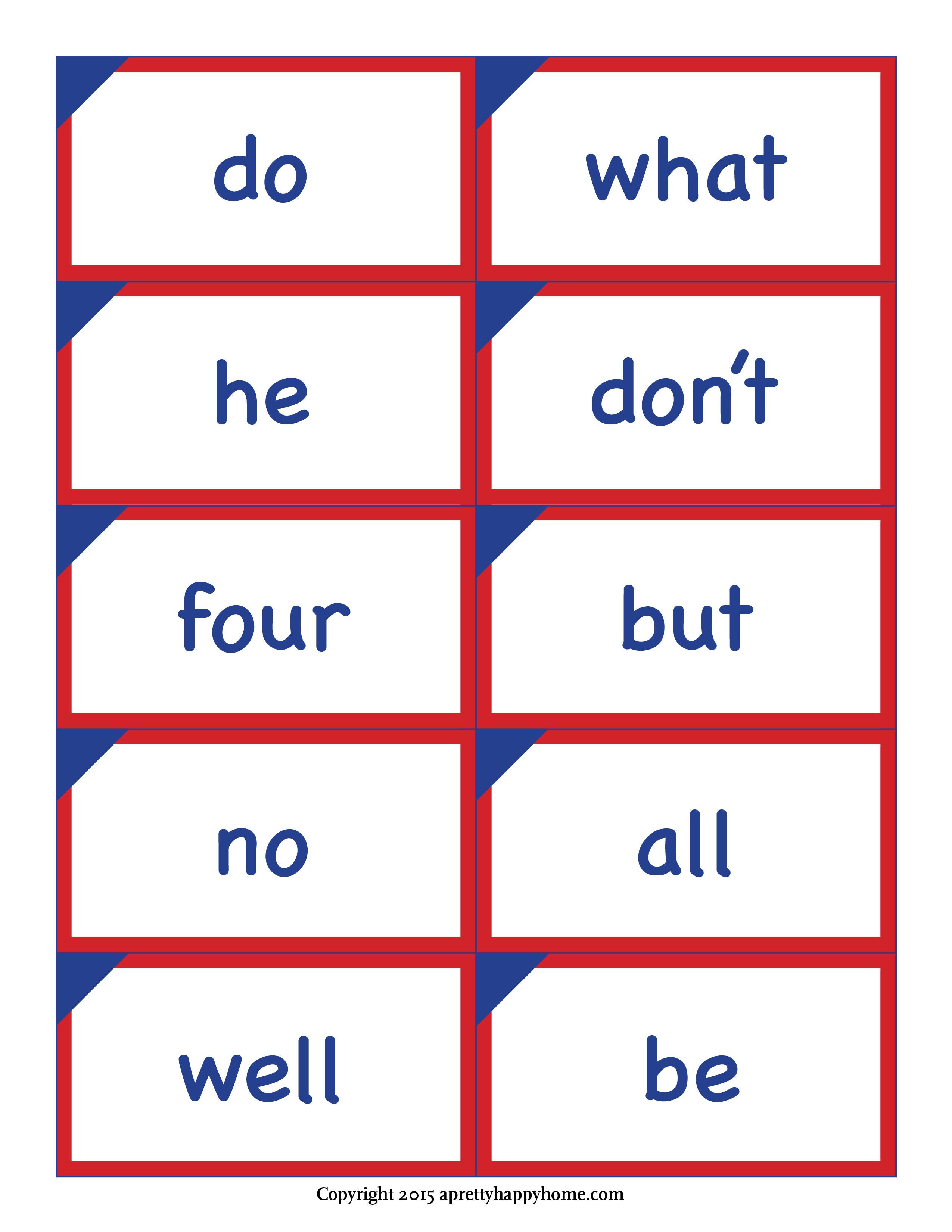 Kindergarten Sight Word Flash Cards – Free Printable – A Pretty - Free Printable Flash Cards