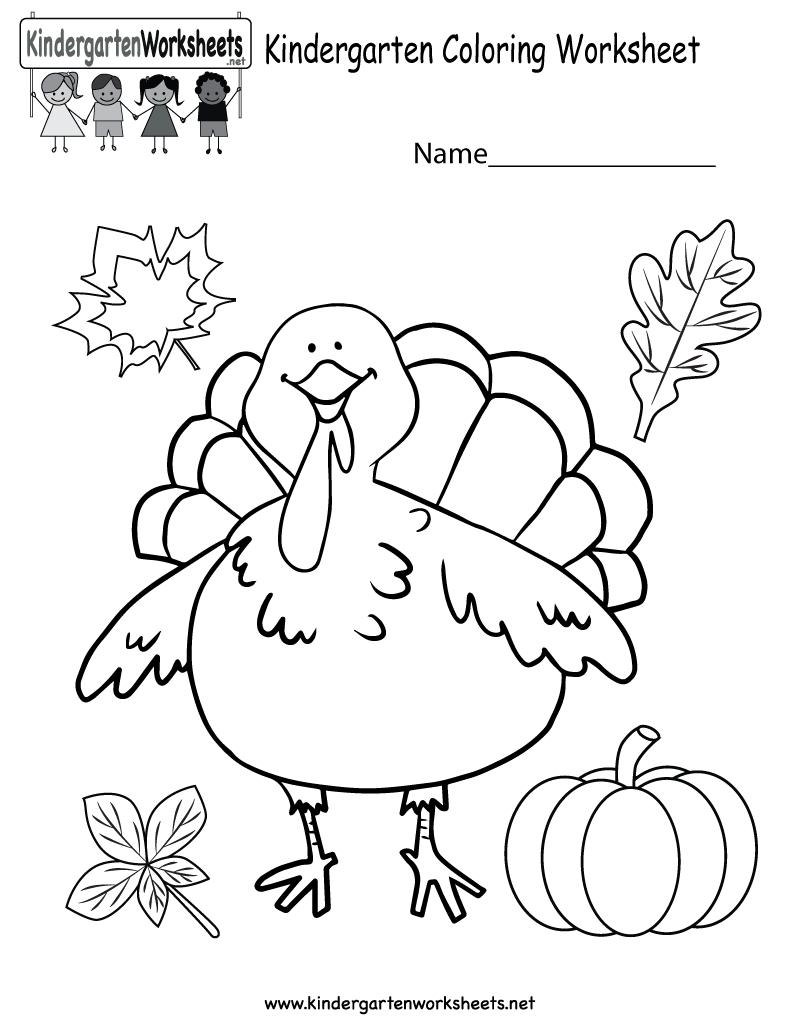 Kindergarten Thanksgiving Coloring Worksheet Printable - Free Printable Thanksgiving Worksheets