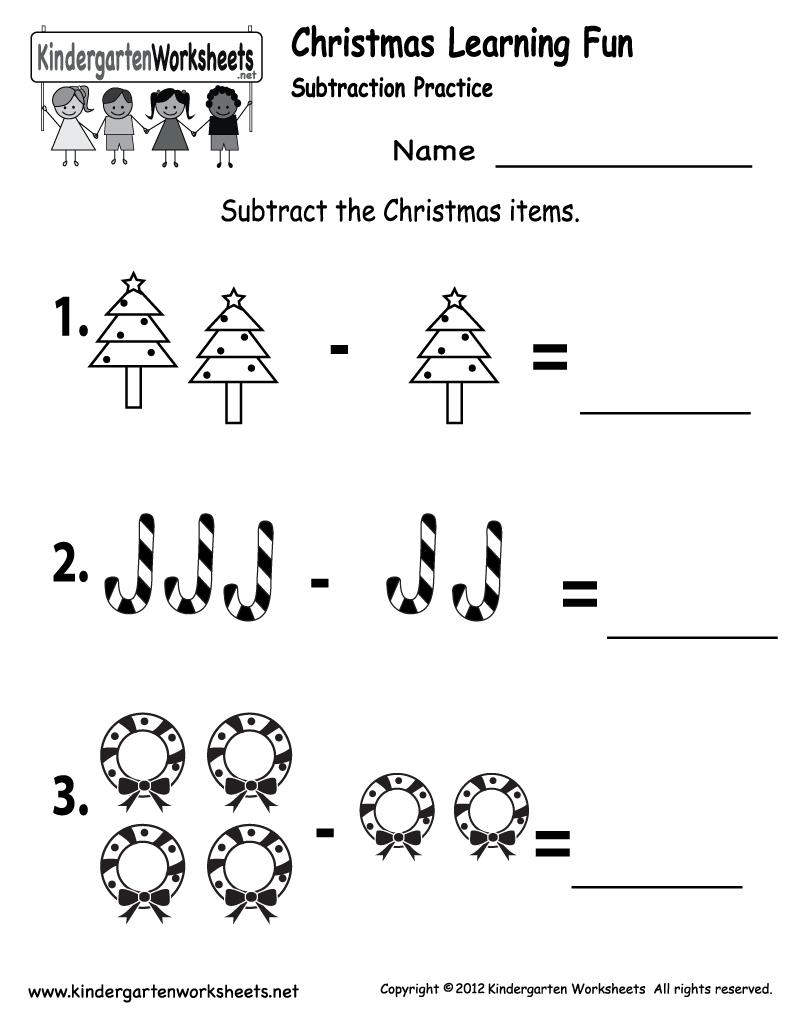 Kindergarten Worksheets Printable |  Subtraction Worksheet - Free - Christmas Fun Worksheets Printable Free