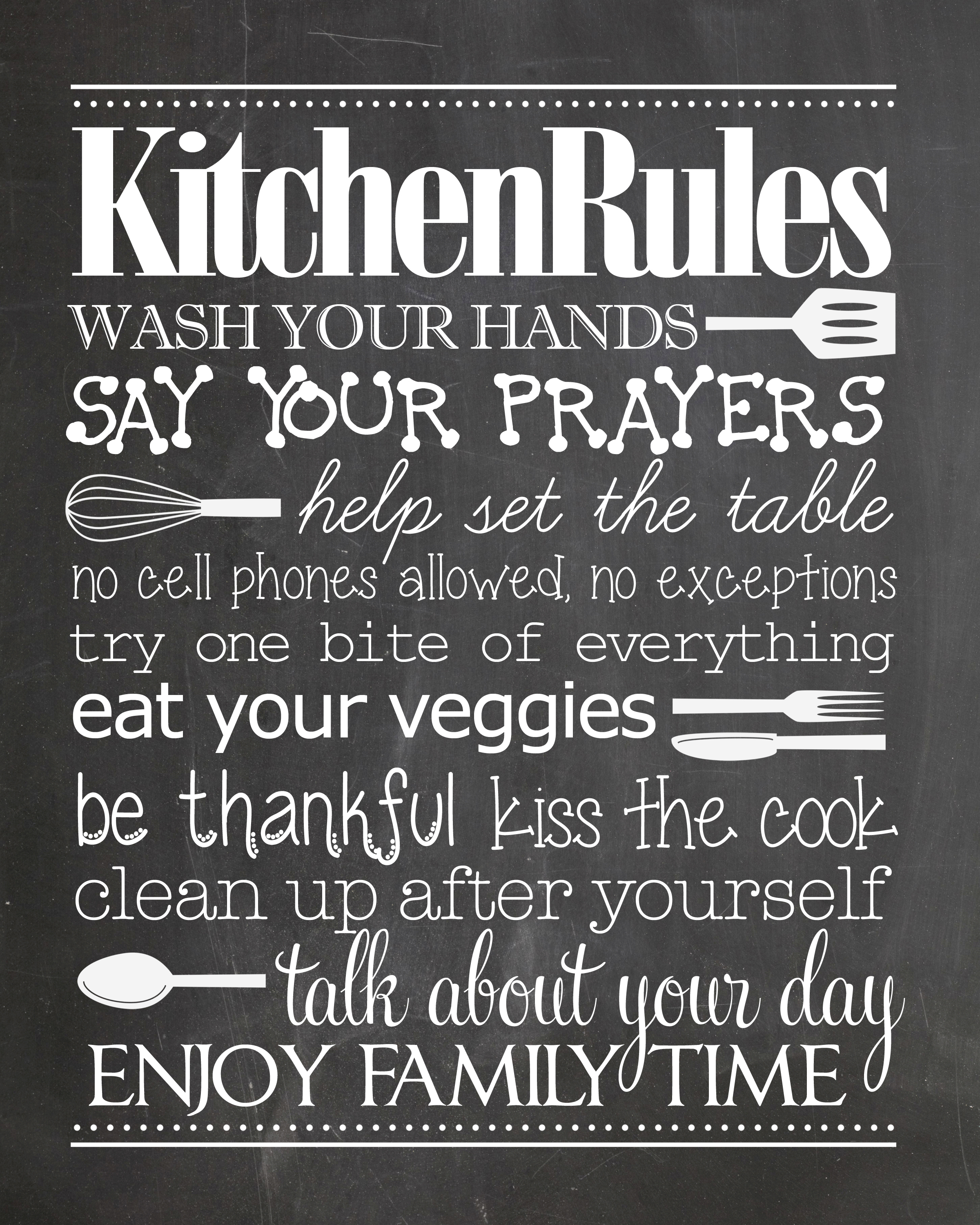 Kitchen Rules {Free Printable} - How To Nest For Less™ - Free Printable Bedroom Door Signs
