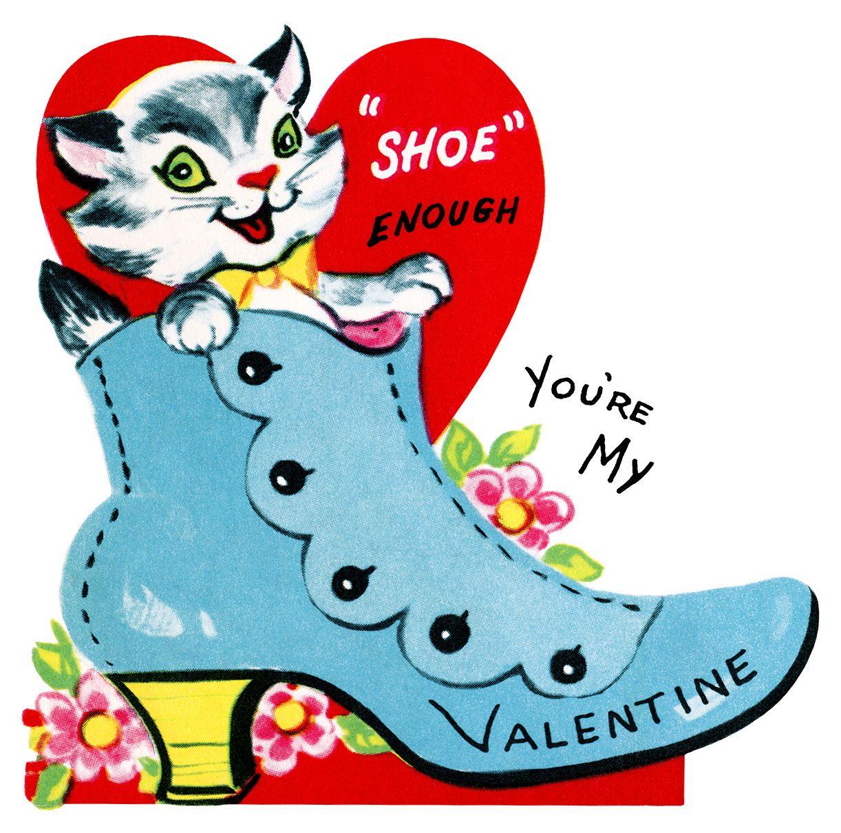 Kitten In Shoe Valentine, Vintage Valentine Clip Art, Retro - Free Printable Vintage Valentine Clip Art
