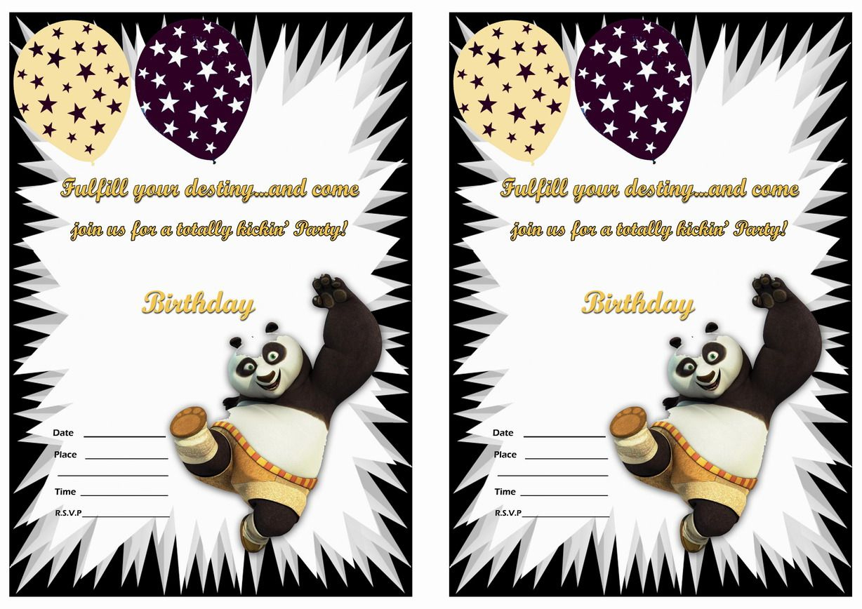 Kung Fu Panda Birthday Invitations – Birthday Printable | Po Kung Fu - Panda Bear Invitations Free Printable