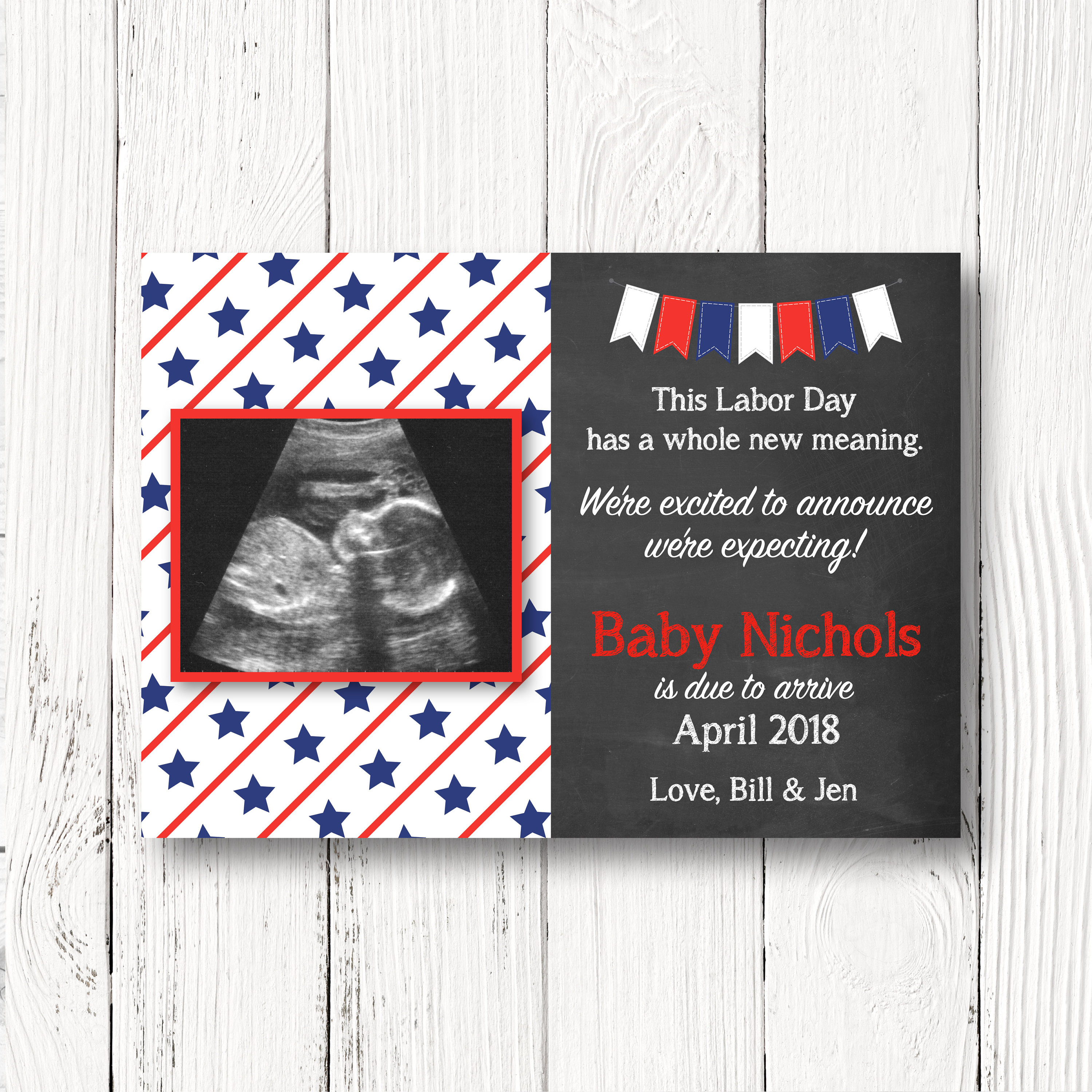 Labor Day Themed Pregnancy Announcement Card Whole New | Etsy - Free Printable Pregnancy Announcement Cards