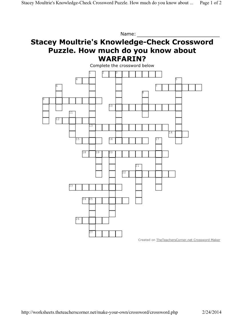 Largepreview Crossword Puzzle Make Your Own ~ Themarketonholly - Free Make Your Own Crosswords Printable