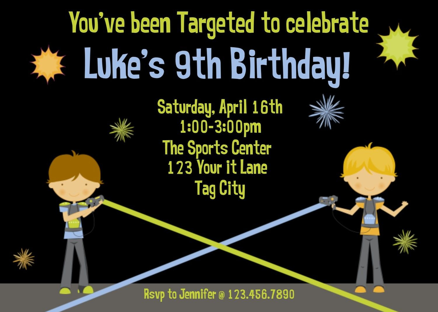 Laser Tag Birthday Invitation Laser Tagthetrendybutterfly - Free Printable Laser Tag Invitation Template