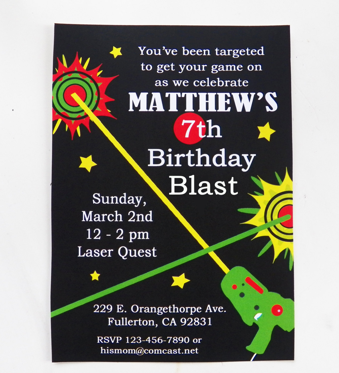 Laser Tag Birthday Invitation Printable And Printed With Free | Etsy - Free Printable Laser Tag Invitation Template