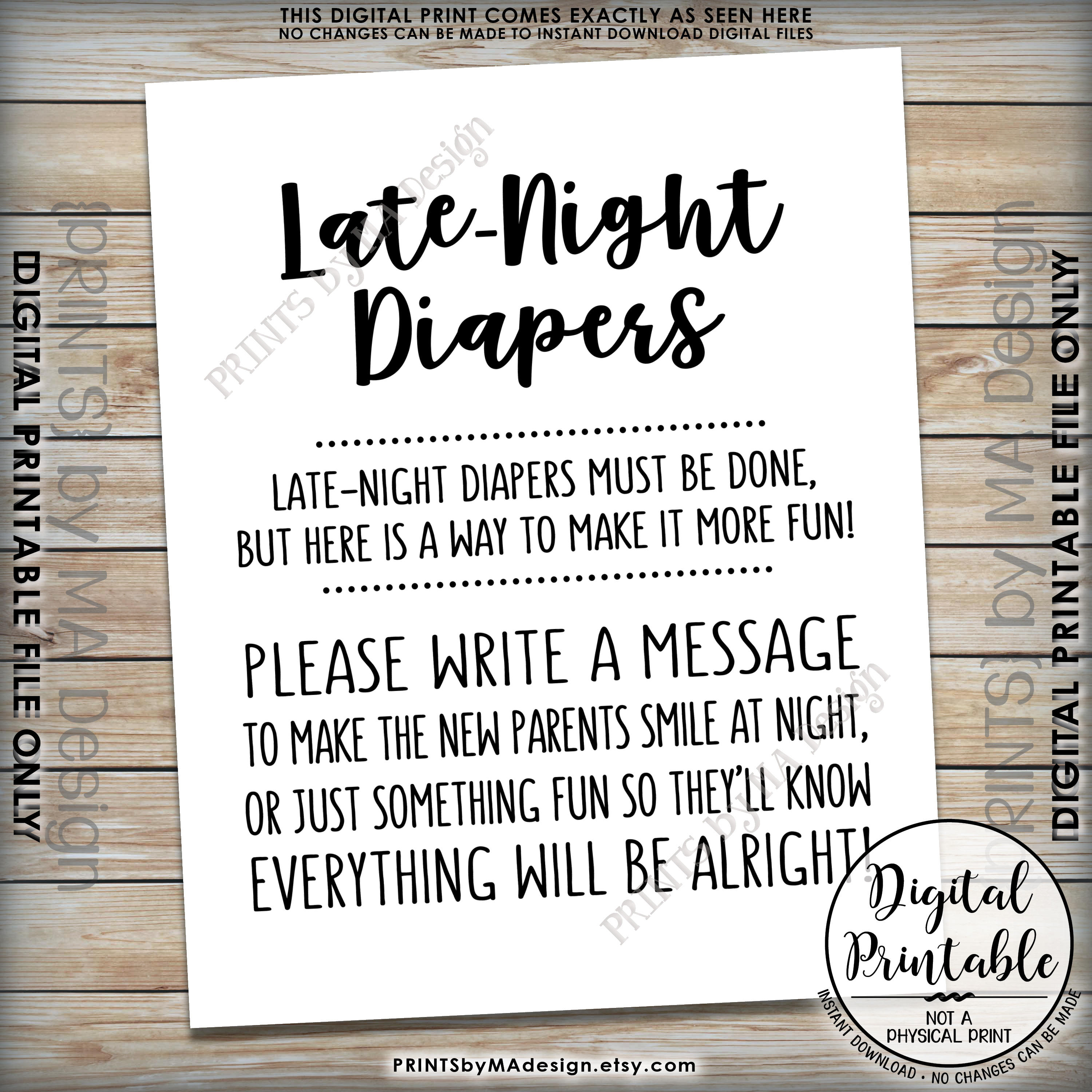 Late Night Diaper Sign, Late-Night Diapers Sign The Diaper Thoughts - Late Night Diaper Sign Free Printable