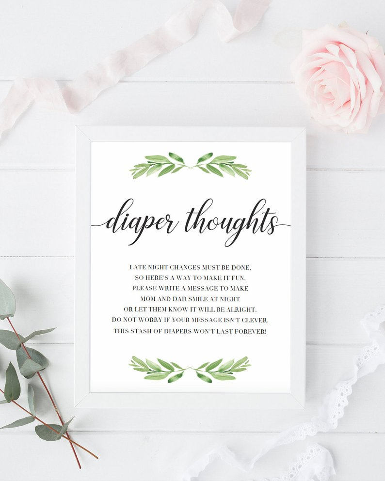 Late Night Diapers Sign Diaper Thoughts Printable Green Baby | Etsy - Late Night Diaper Sign Free Printable