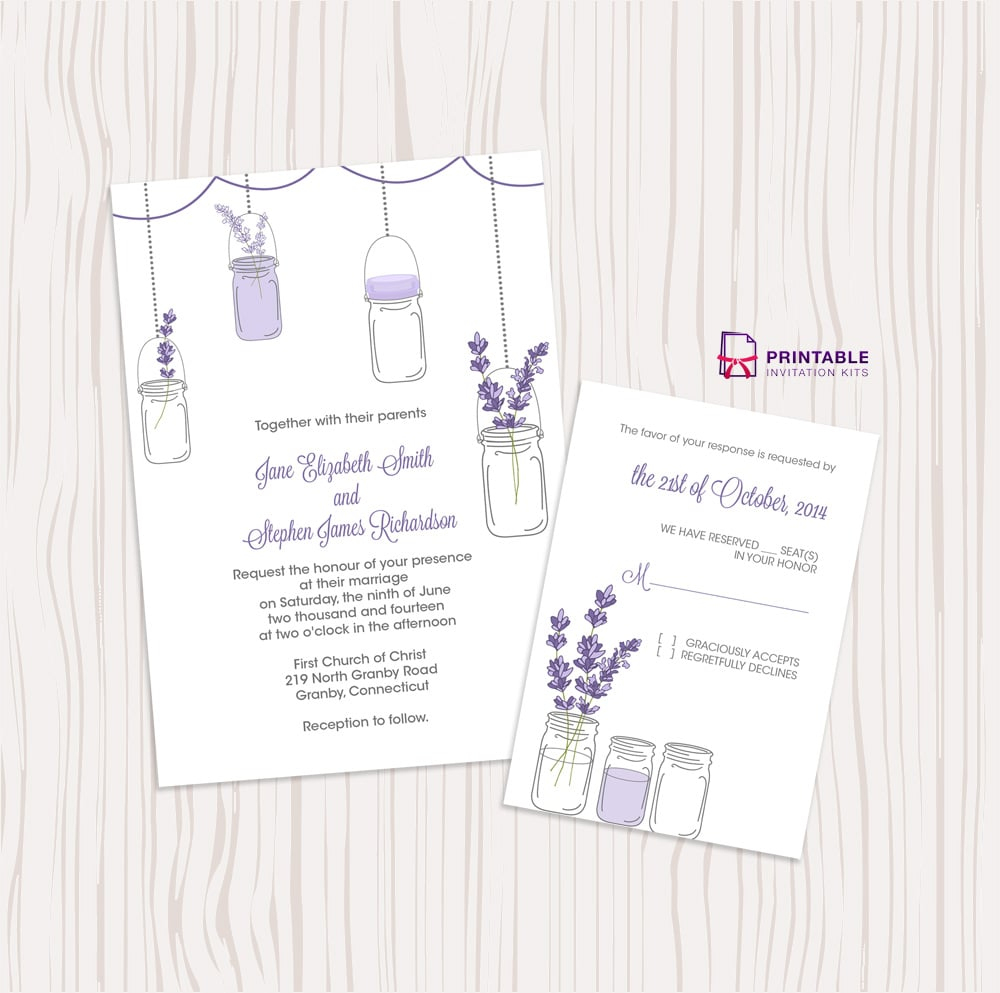 Lavender And Mason Jar Wedding Invitation | Free Printable Wedding - Free Mason Jar Wedding Invitation Printable Templates