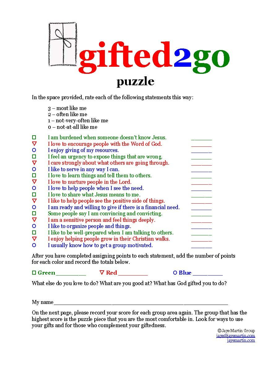 Learn About Spiritual Gifts - Printable Bible Worksheets - Free Printable Spiritual Gifts Test For Youth