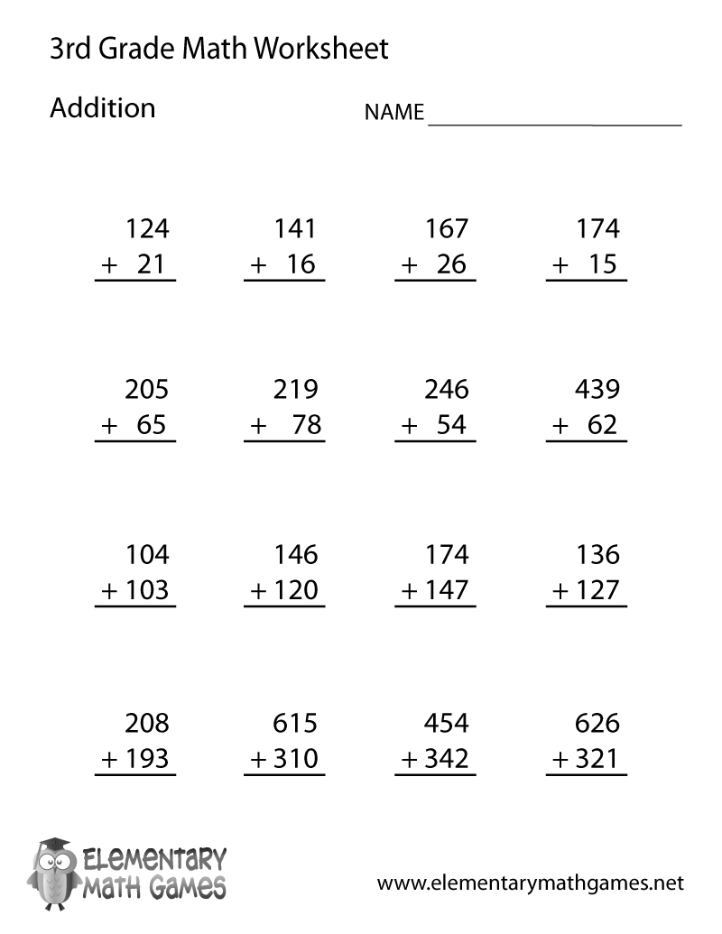 Learn And Practice Addition With This Printable 3Rd Grade Elementary - Free Printable 3Rd Grade Worksheets
