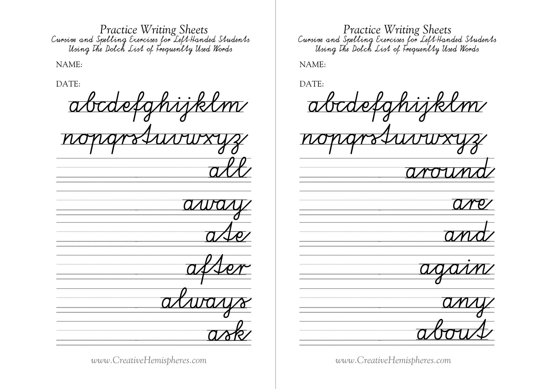 Left Handed Letter Formation Pdf Format Free Printable Cursive - Free Printable Left Handed Worksheets