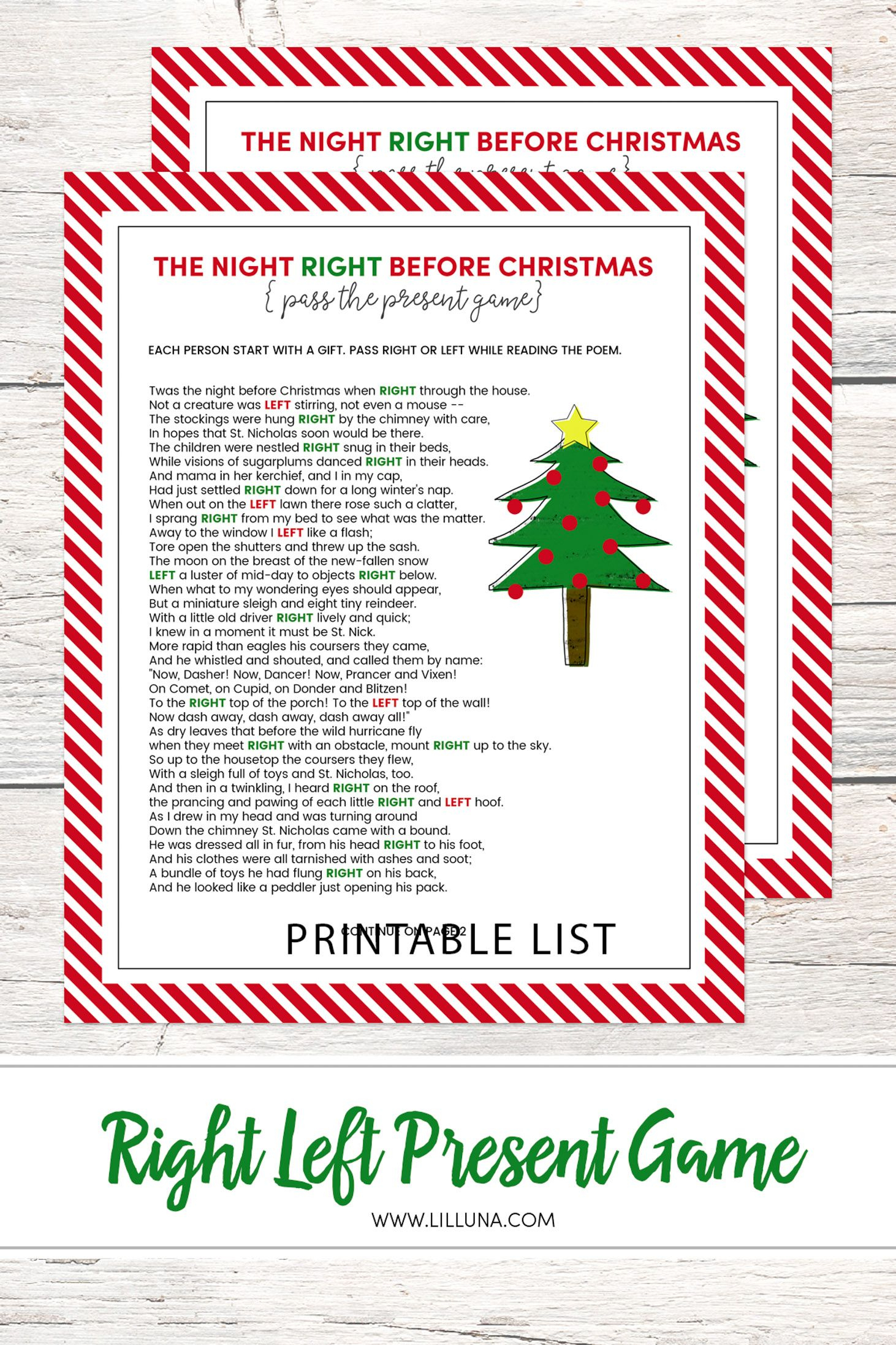 Left Right Christmas Game - Free Printable | All Fun And Games - Kwanzaa Trivia Free Printable