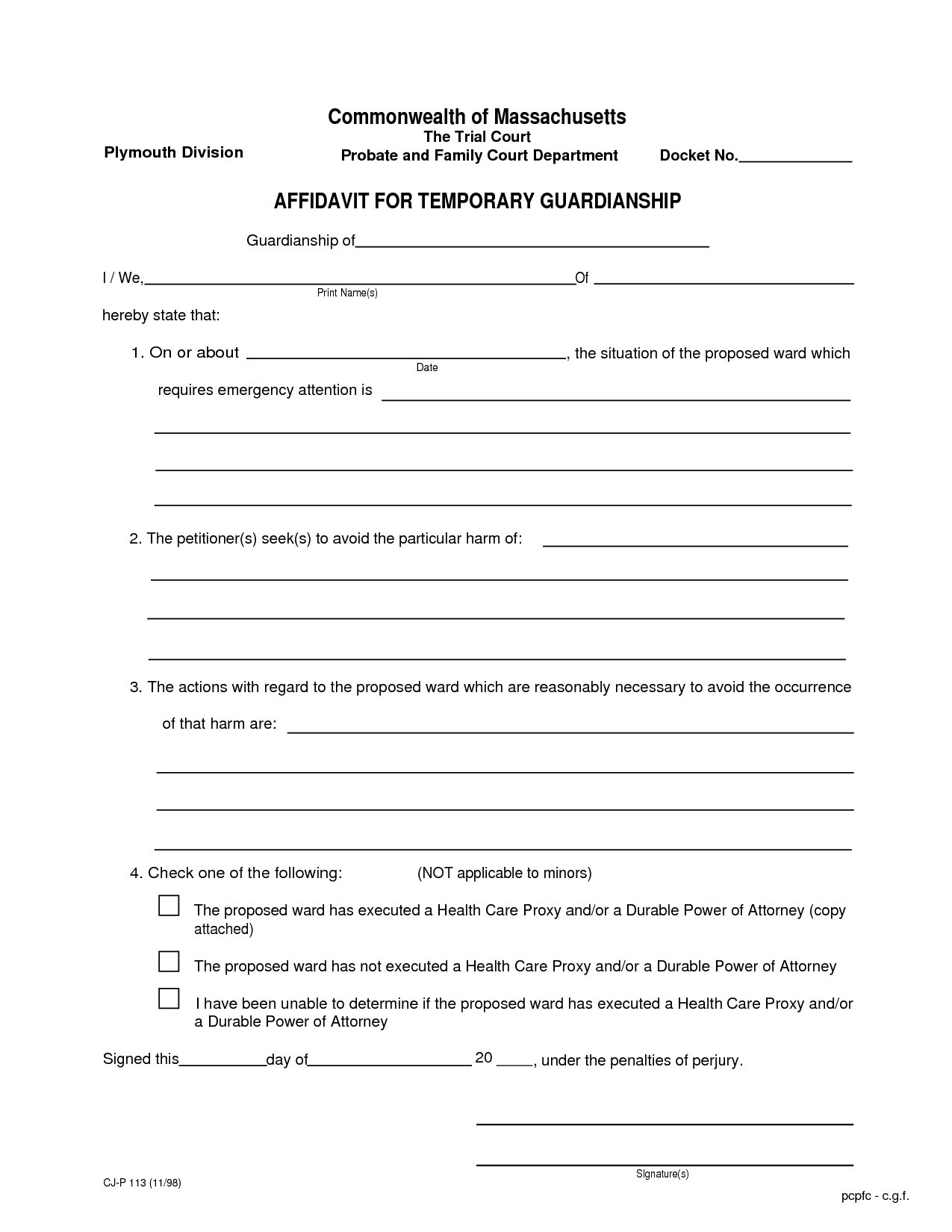 Legal Temporary Child Custody Agreement Form - Id97998 Opendata - Free Printable Temporary Guardianship Form