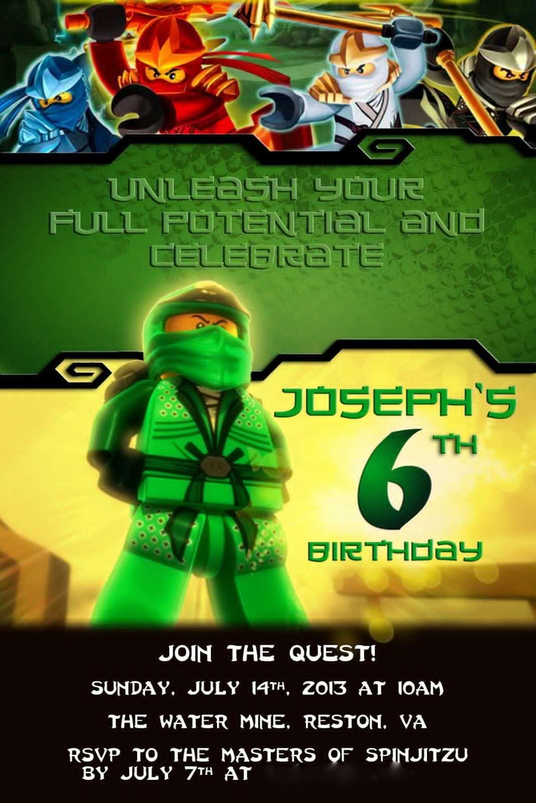 Lego Ninjago Party Invitations Free – Royyet - Lego Ninjago Party Invitations Printable Free