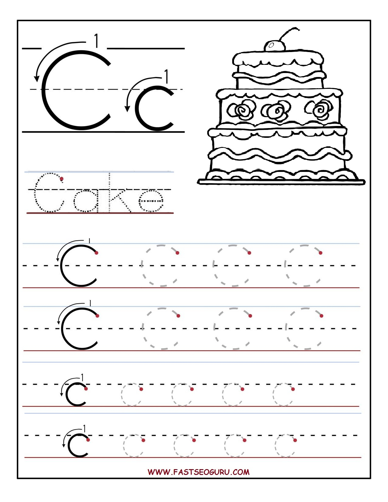 Letter C Worksheets | Gplusnick - Free Printable Letter C Worksheets