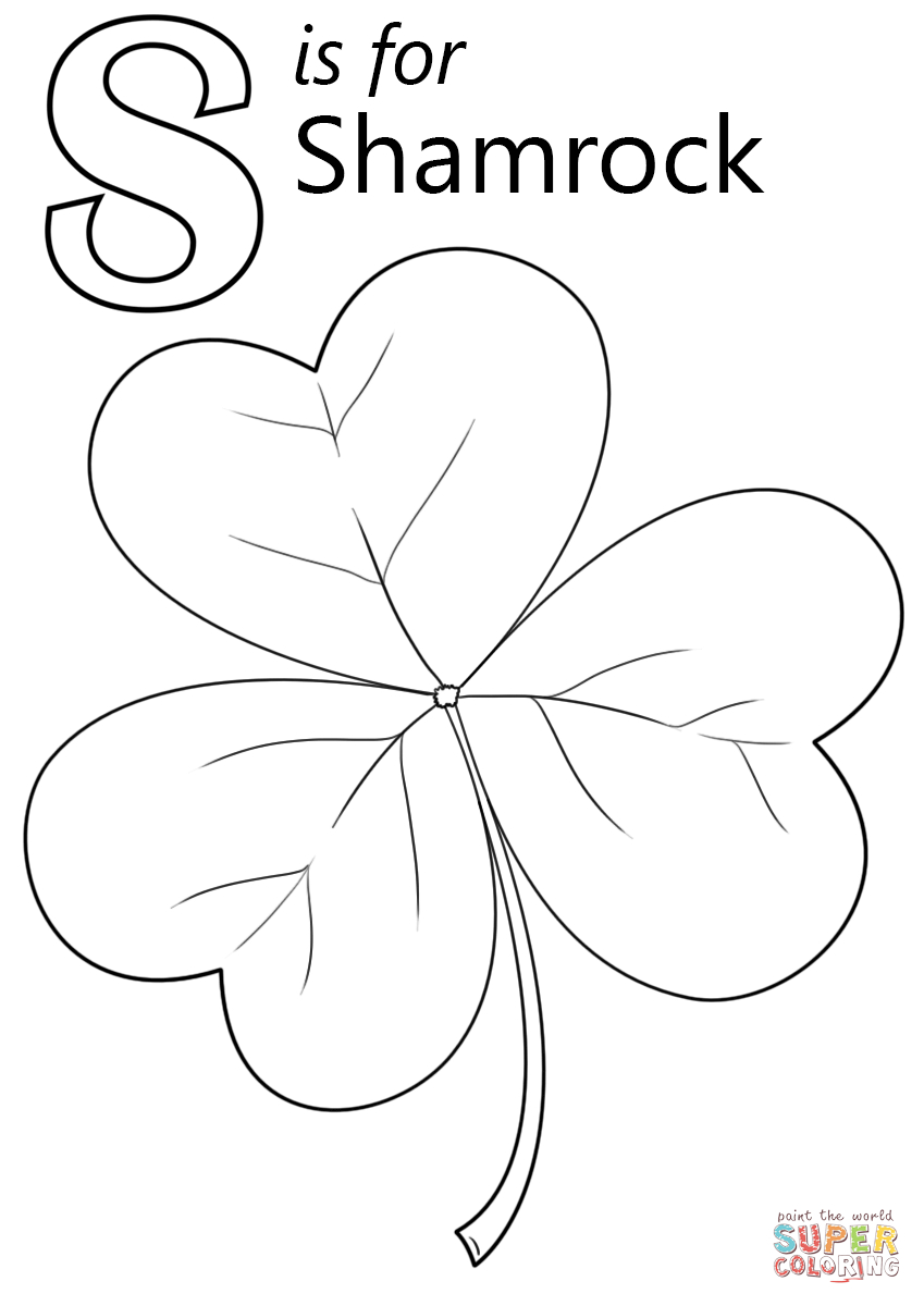 Letter S Is For Shamrock Coloring Page | Free Printable Coloring Pages - Free Printable Shamrocks