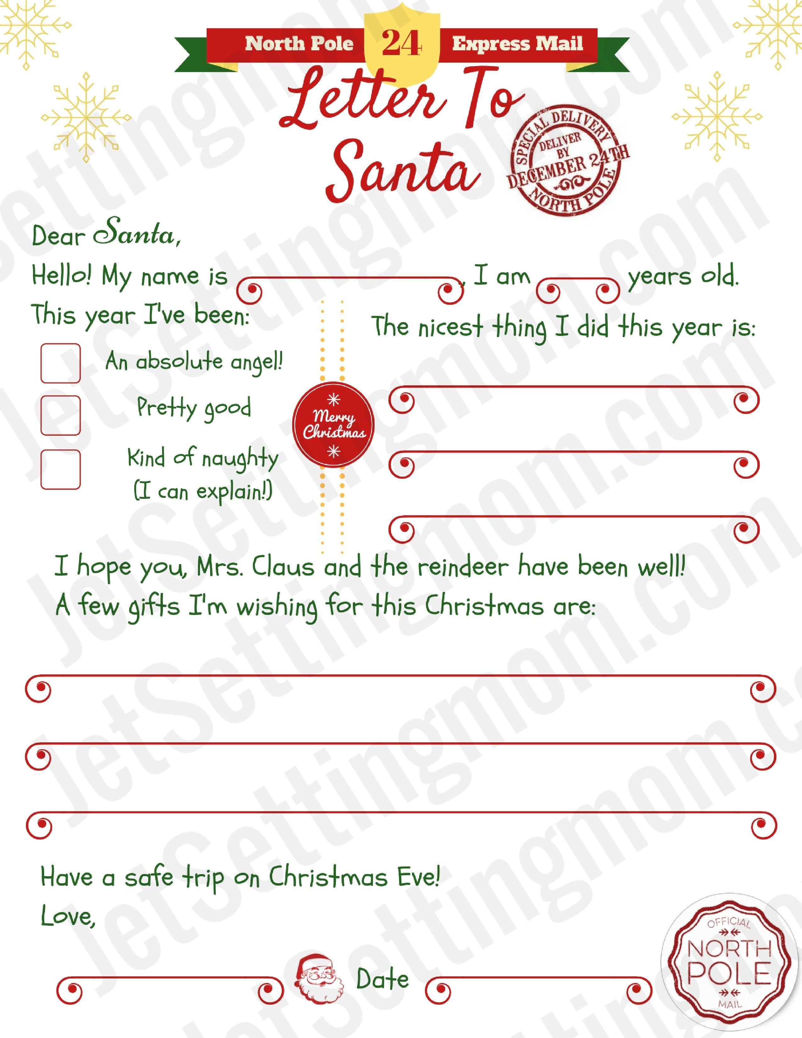 Letter To Father Christmas Free Printable Fresh Printable Letter To - Letter To Santa Template Free Printable