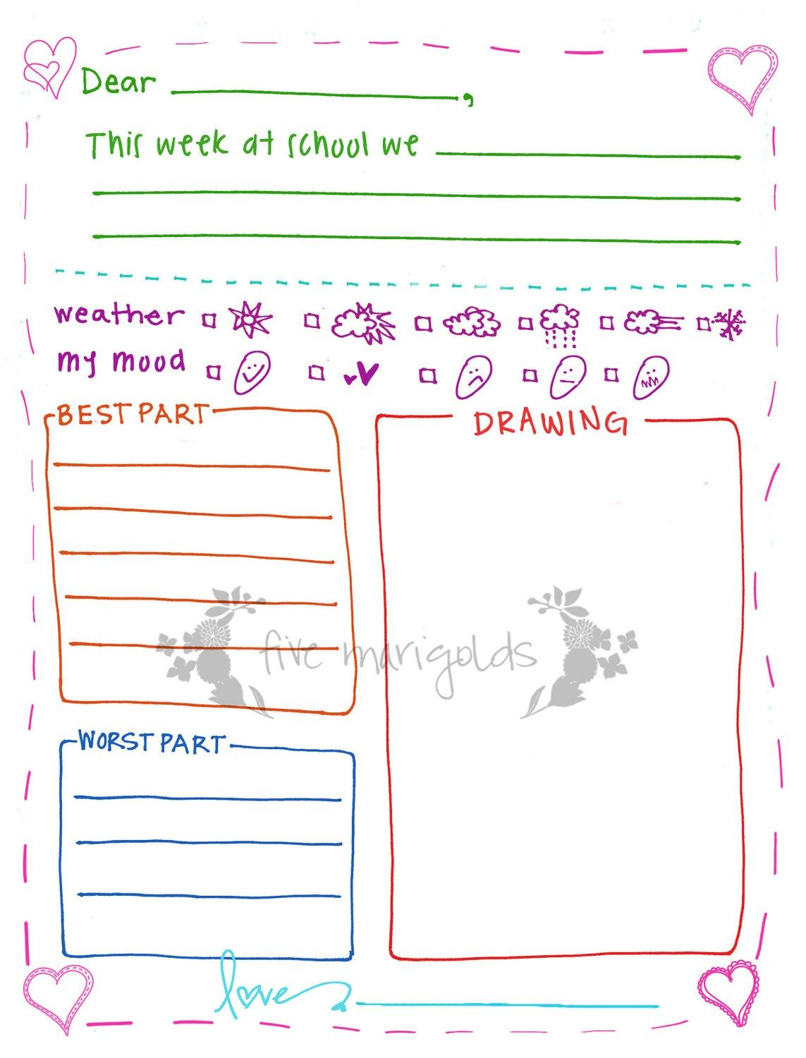 Letter To Grandma Printable Template Girl | Five Marigolds - Free Printable Letter Writing Templates