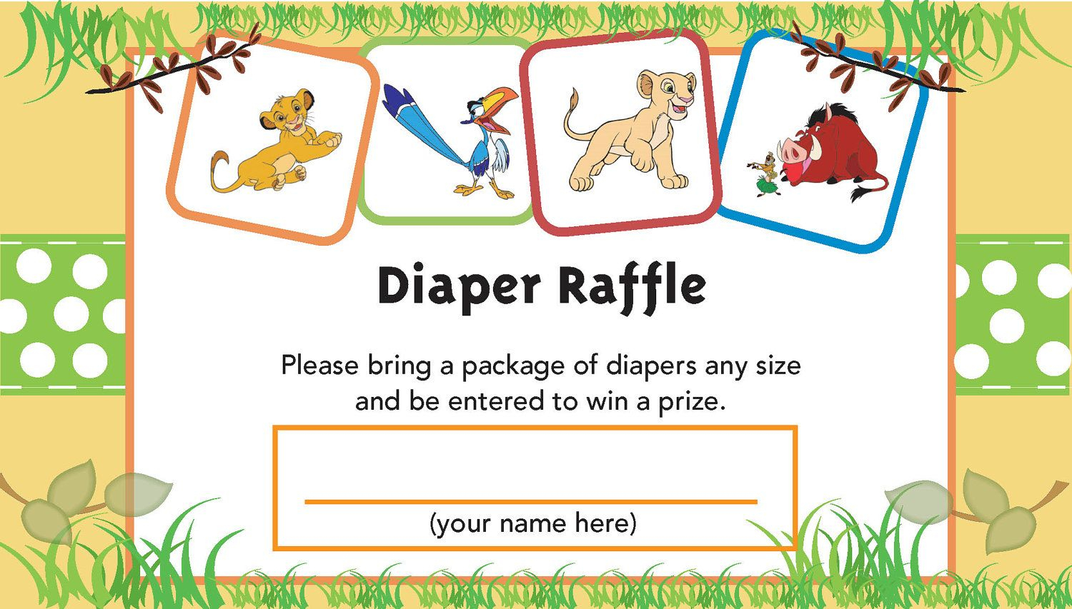 Lion King Printable Diaper Raffle Ticket | Baby Shower | Pinterest - Free Printable Lion King Baby Shower Invitations