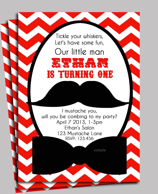 Little Man Mustache Invitation Printable Or Printed With Free - Free Printable Mustache Invitations