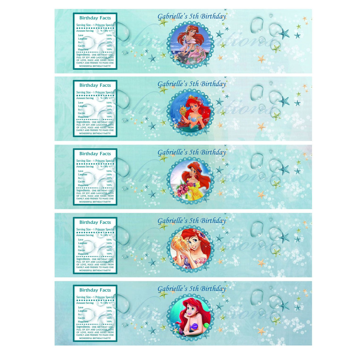 Little Mermaid Water Bottle Printables | P.tags | Pinterest - Free Printable Little Mermaid Water Bottle Labels