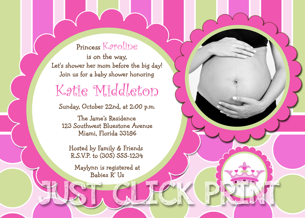 Little Princess Baby Girl Shower Invitation Printable · Just Click - Free Printable Princess Baby Shower Invitations