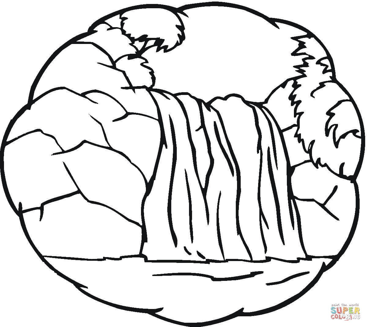 Little Waterfall Coloring Page   Free Printable Coloring Pages - Free Printable Waterfall Coloring Pages