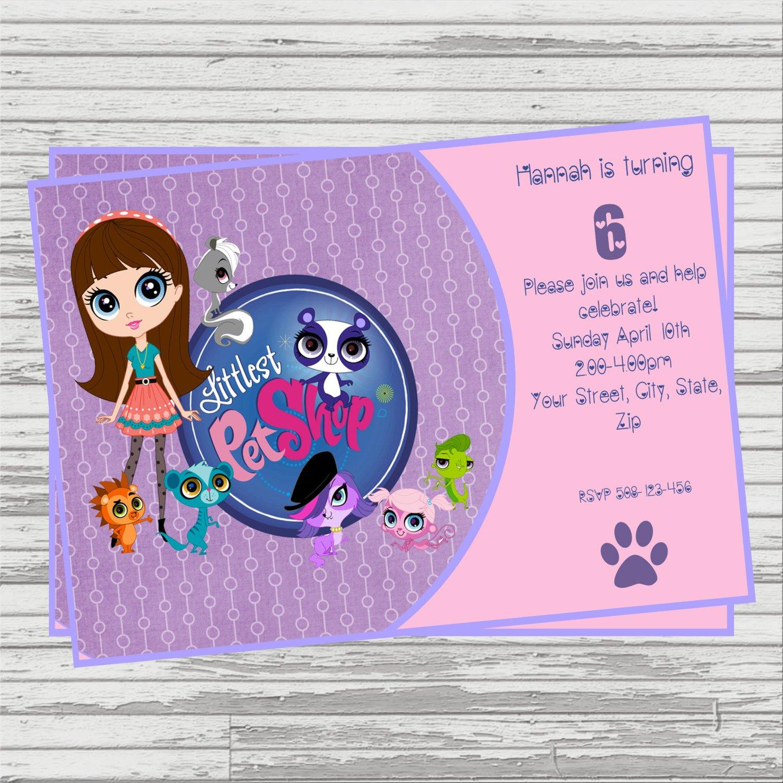 Littlest Pet Shop Digital Birthday Invitation. | Etsy - Littlest Pet Shop Invitations Printable Free