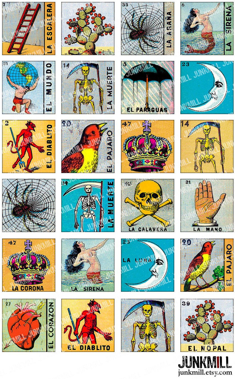 Loteria - Collage Sheet - Vintage Loteria Cards, Mexican Bingo, Day - Free Printable Loteria Cards