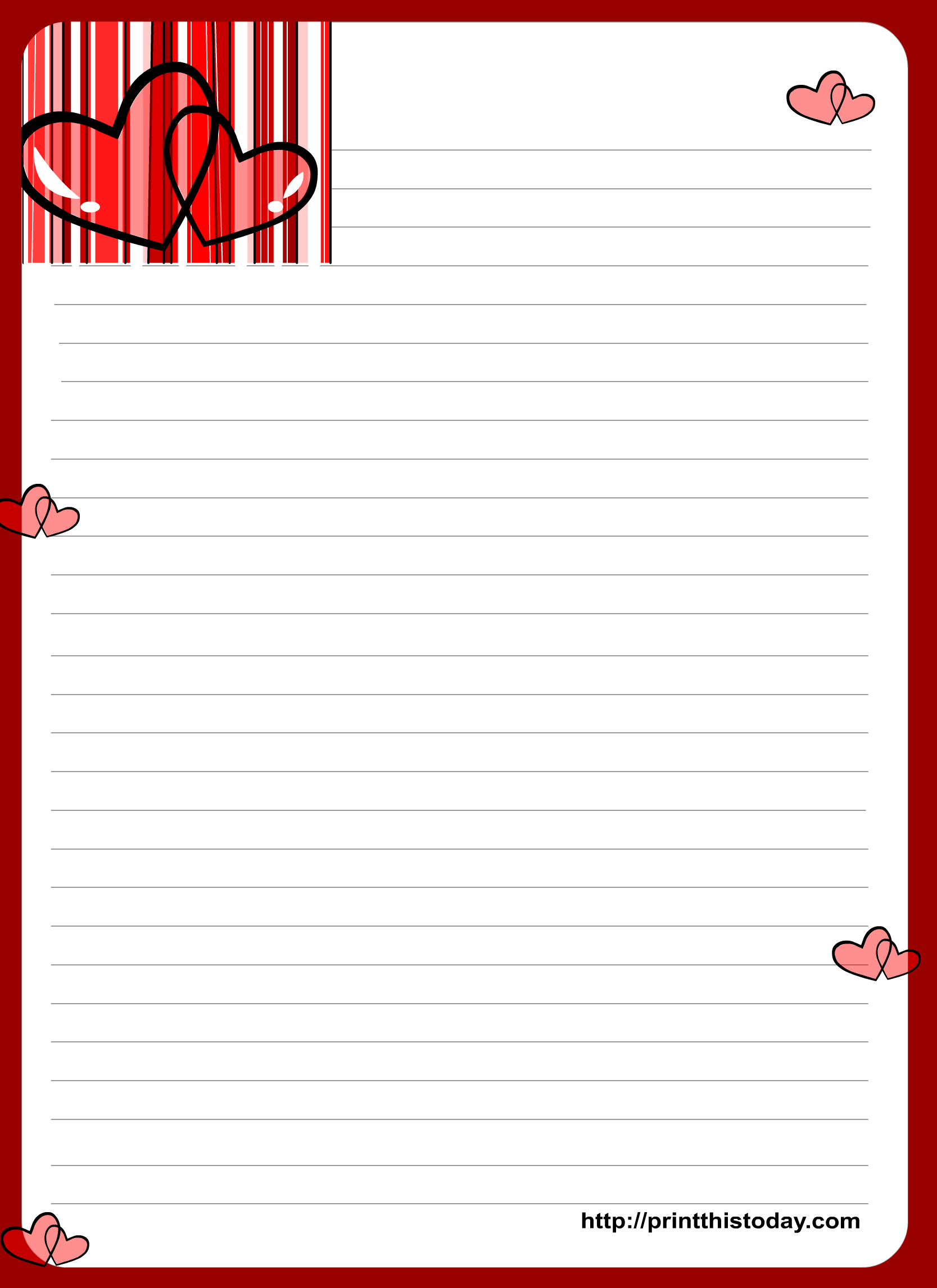Love Letter Writing Paper With Hearts | Decorative Paper W/ Lines - Free Printable Love Letter Paper