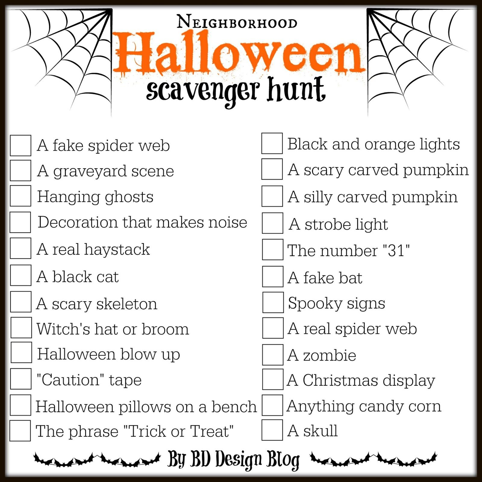 Love This Free Printable Halloween Scavenger Hunt From Www - Free Printable Halloween Scavenger Hunt