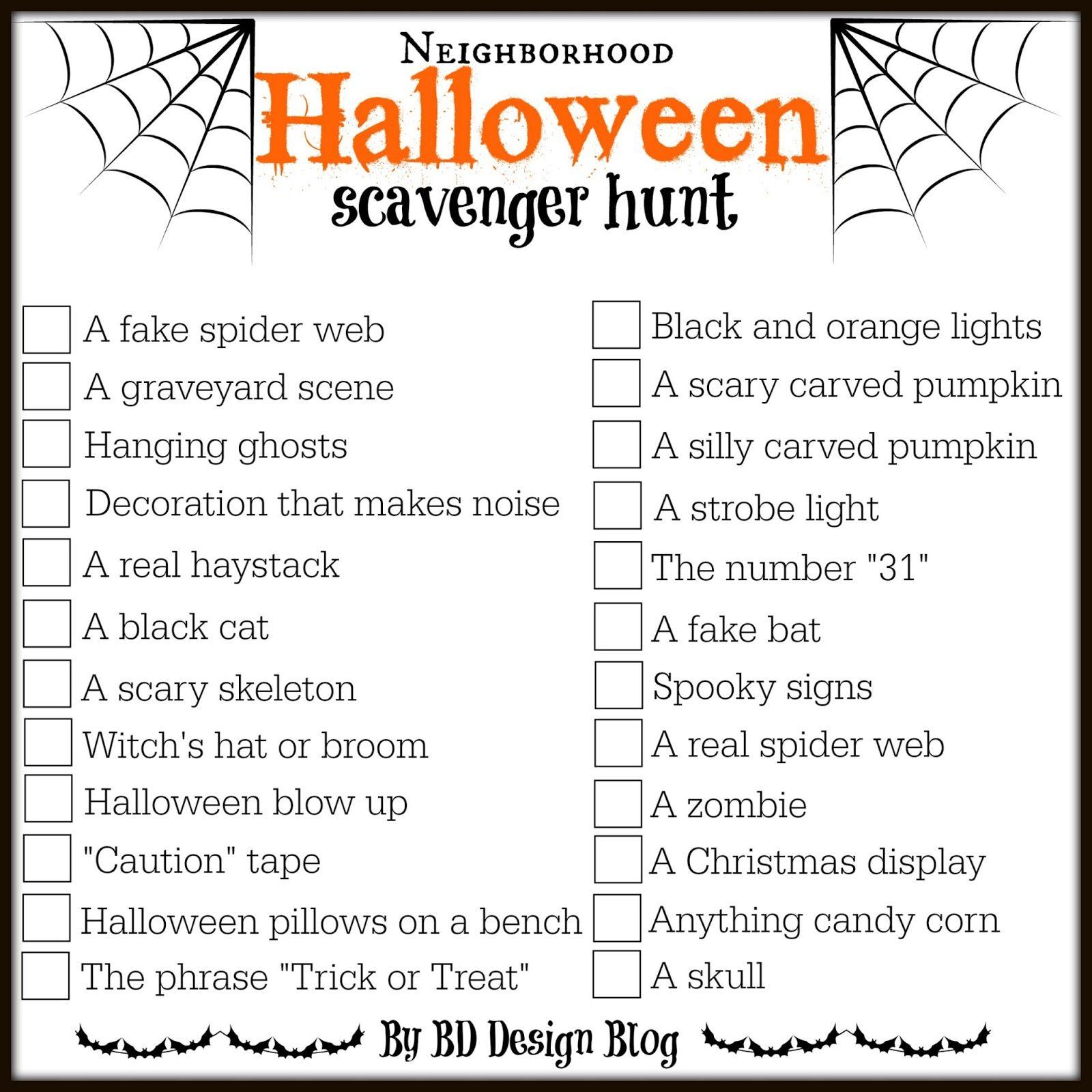 Love This Free Printable Halloween Scavenger Hunt From Www - Free Printable Halloween Scavenger Hunt