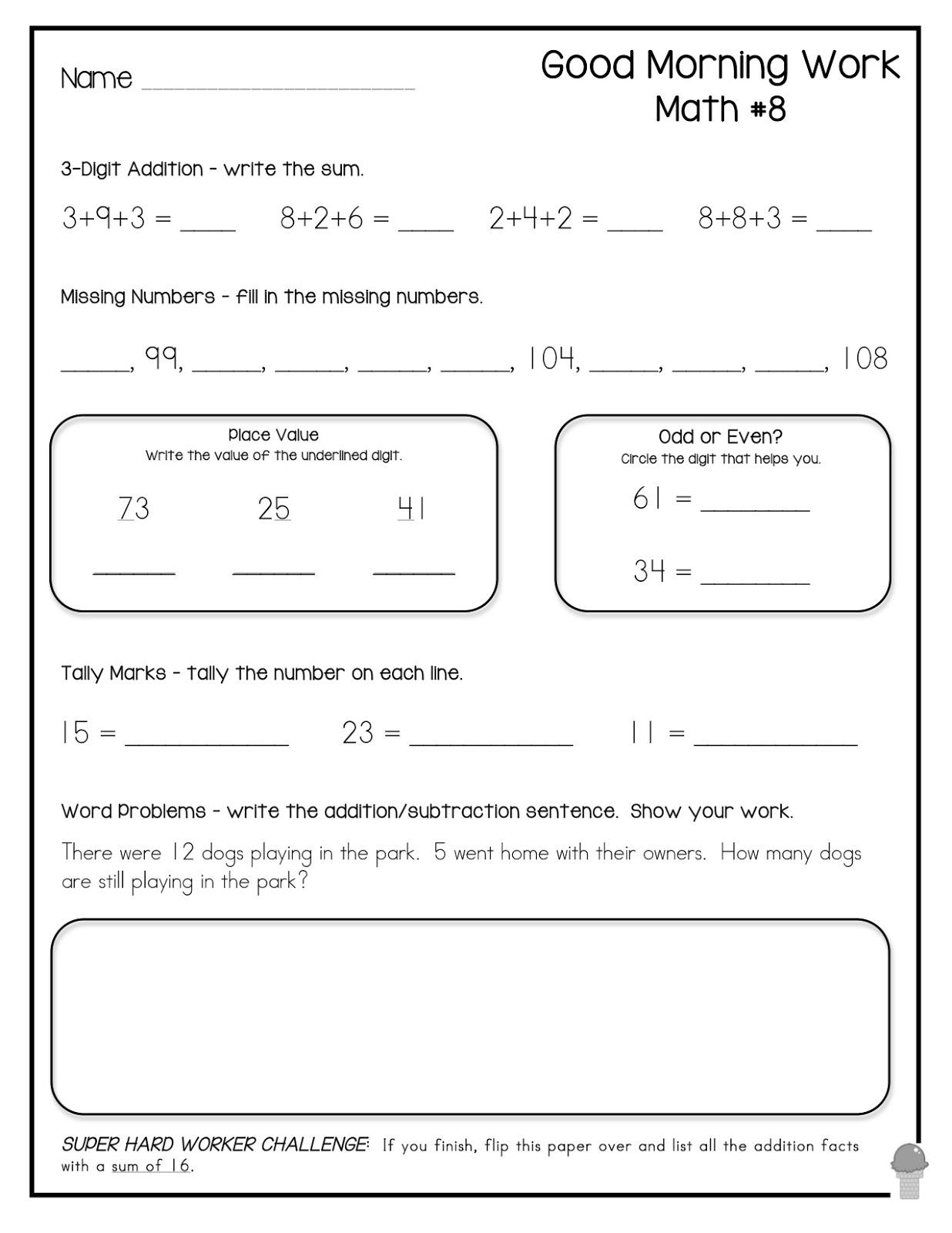 Lovely Free First Grade Morning Work | Fun Worksheet - Free Printable 4Th Grade Morning Work