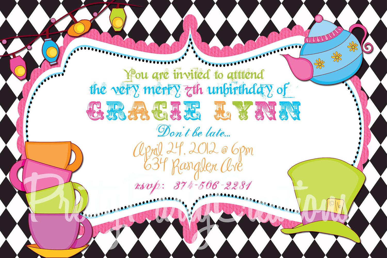 Mad Hatter Invitation Best Mad Hatter Tea Party Invitations Free - Mad Hatter Tea Party Invitations Free Printable