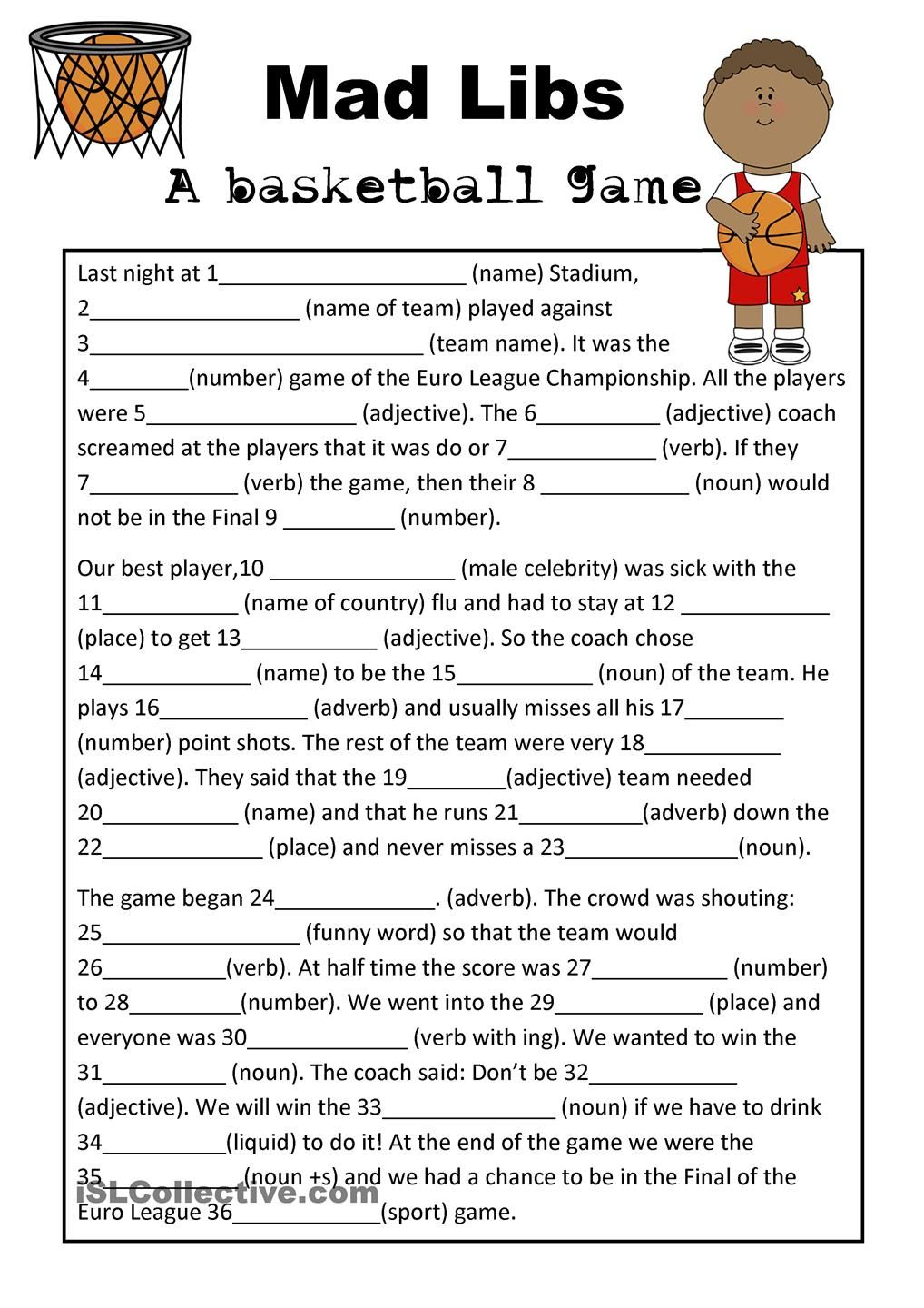 Mad Libs Basketball Game | Teaching Esl | Mad Libs, Basketball Games - Free Printable Mad Libs For Middle School Students