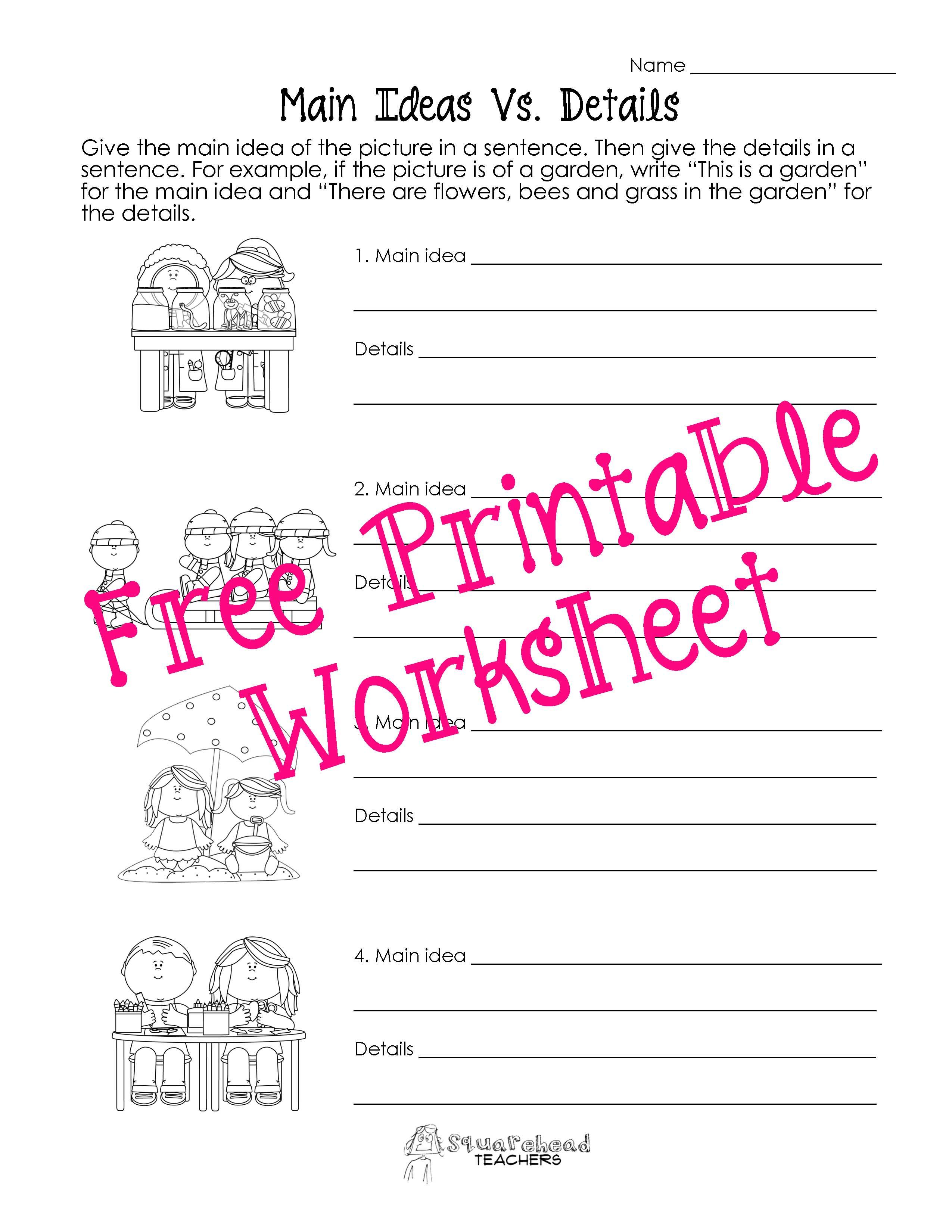 Main Idea Vs. Details Worksheets | Squarehead Teachers - Free Printable Main Idea Worksheets