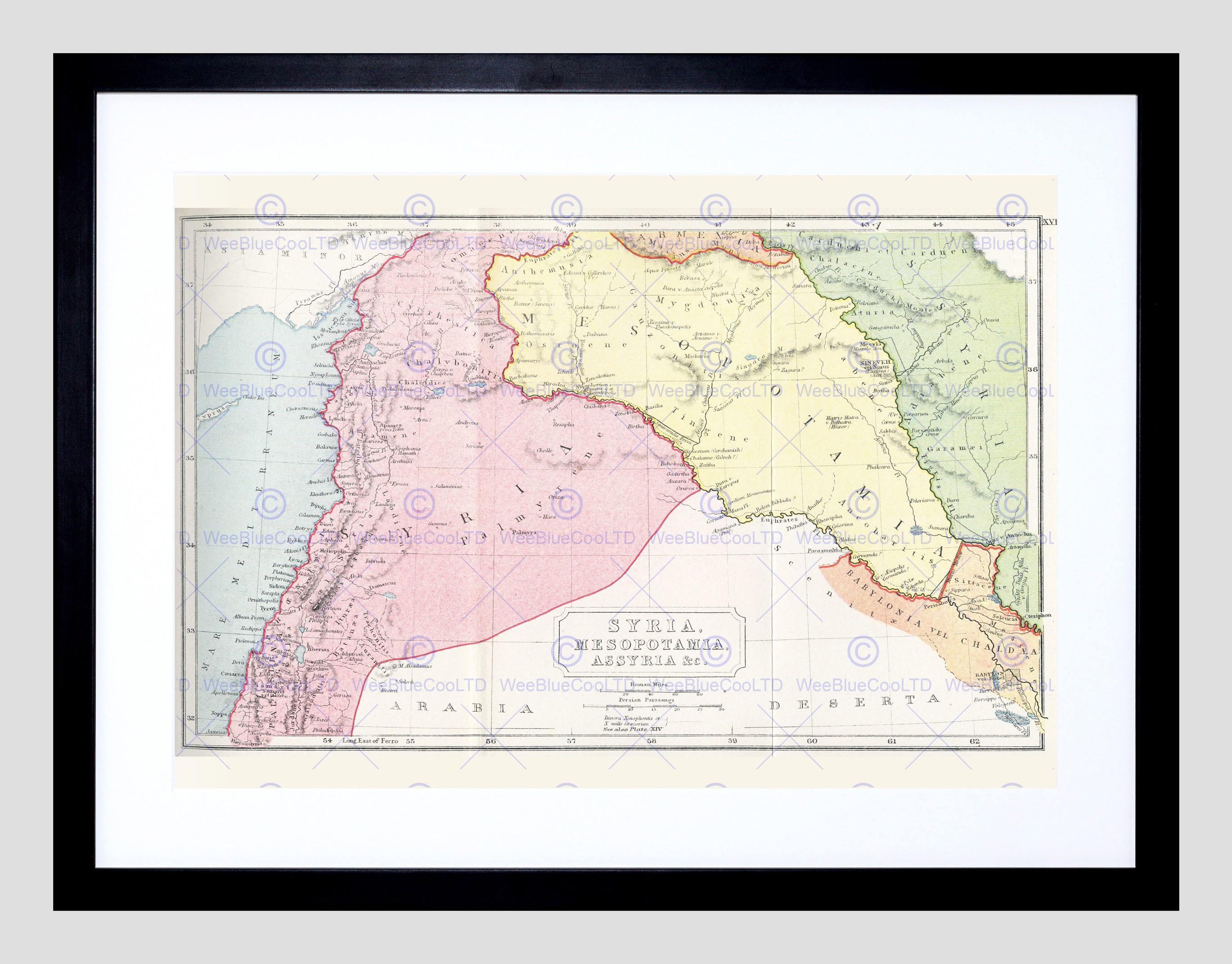 Map Syria Mesopotamia Assyria Vintage Framed Art Print Poster - Free Printable Map Of Mesopotamia