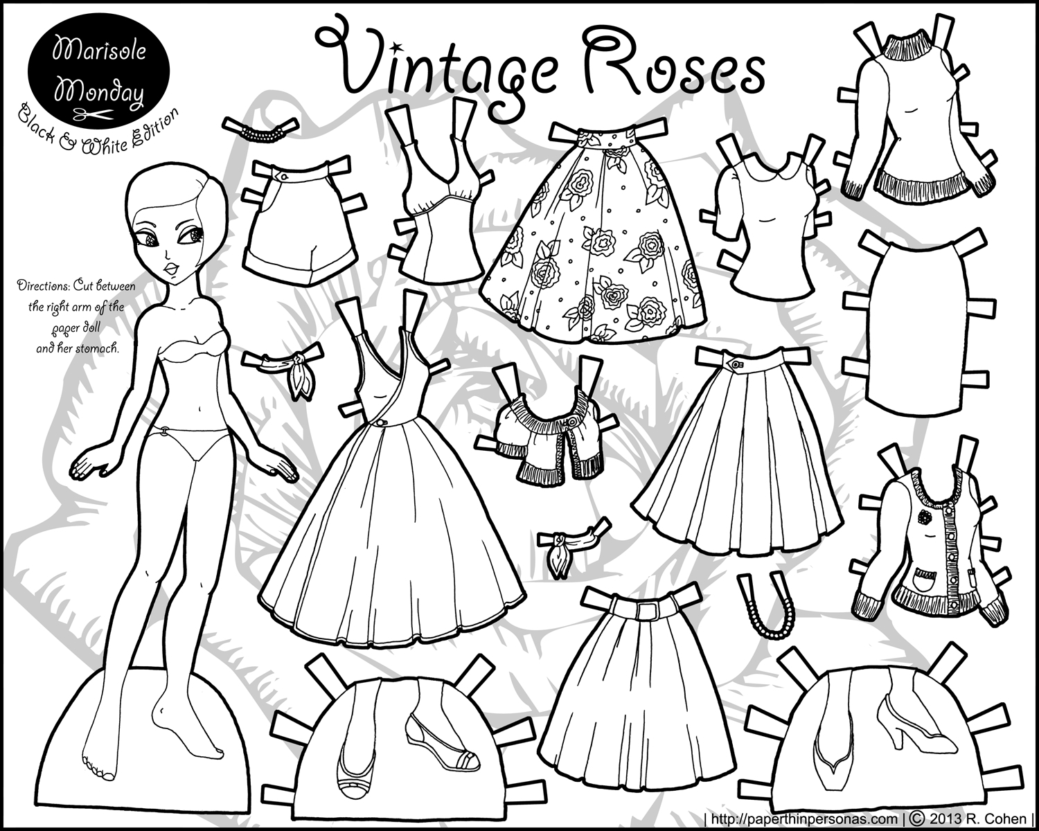 Marisole Monday: Vintage Roses | Coloring! | Paper Dolls, Paper - Printable Paper Dolls To Color Free