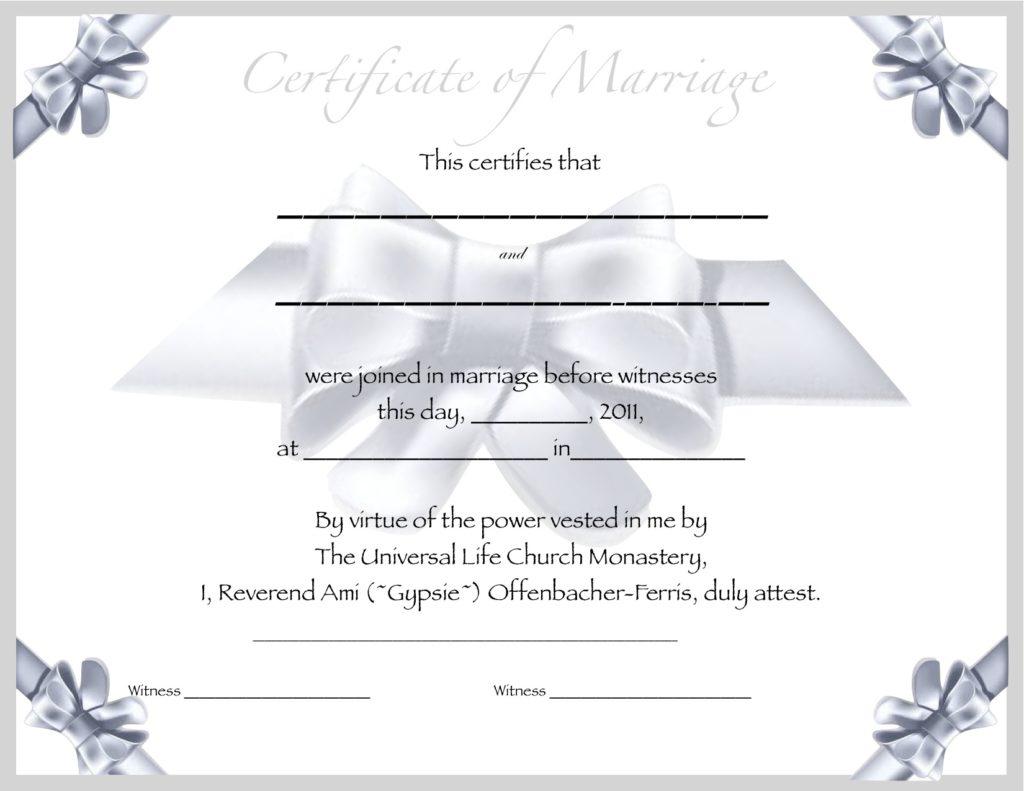 Marriage Certificate Template | Certificate Templates - Fake Marriage Certificate Printable Free