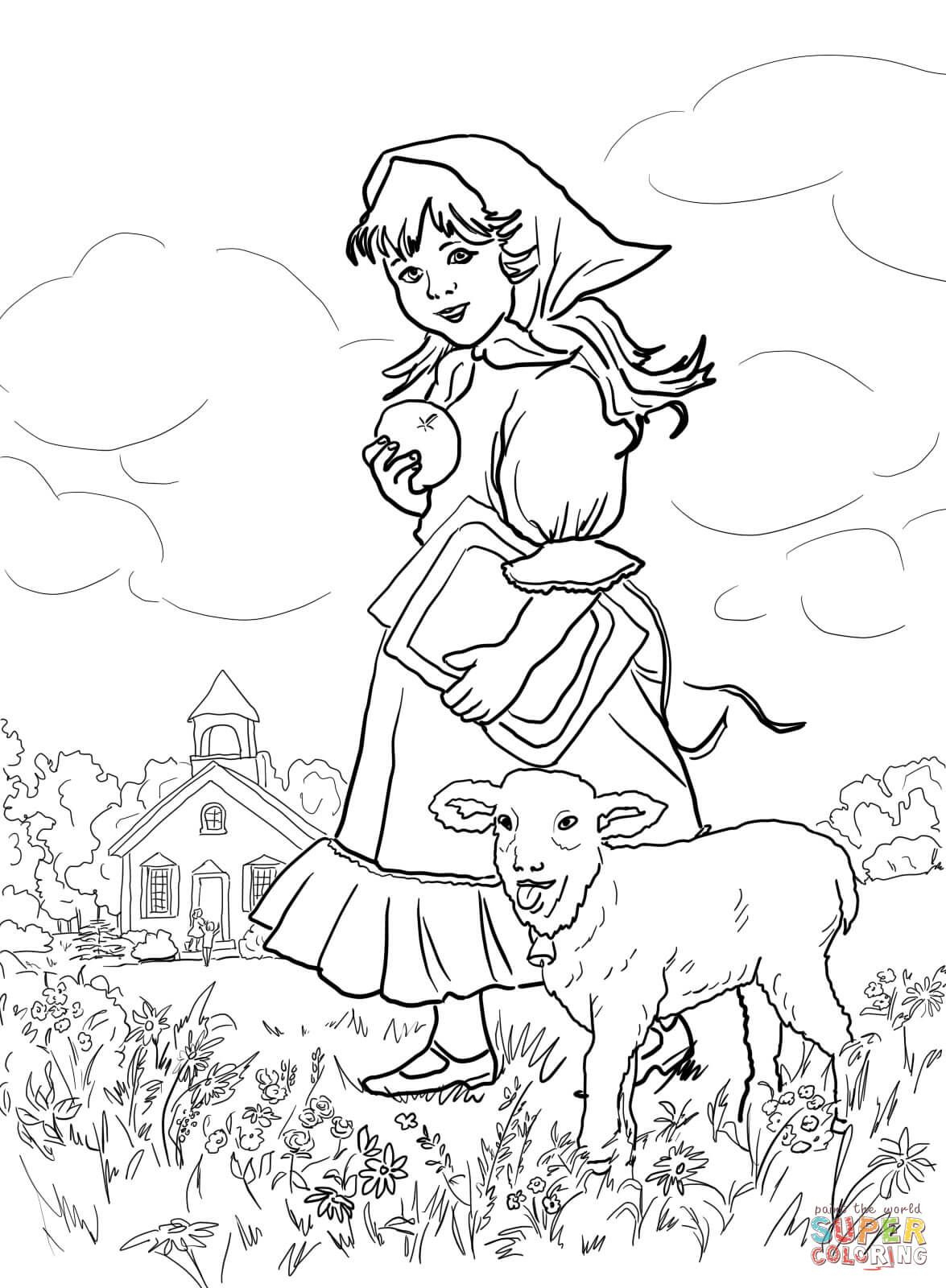 Mary Had A Little Lamb | Coloring Fairy Tale, Nursery Rhymes And - Free Printable Mother Goose Nursery Rhymes